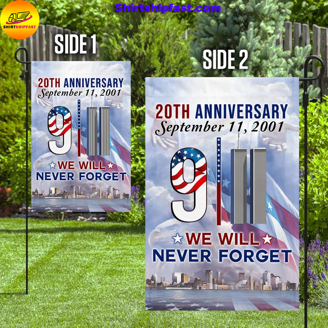 20th anniversary September 11 2001 we will never forget flag - Picture 1