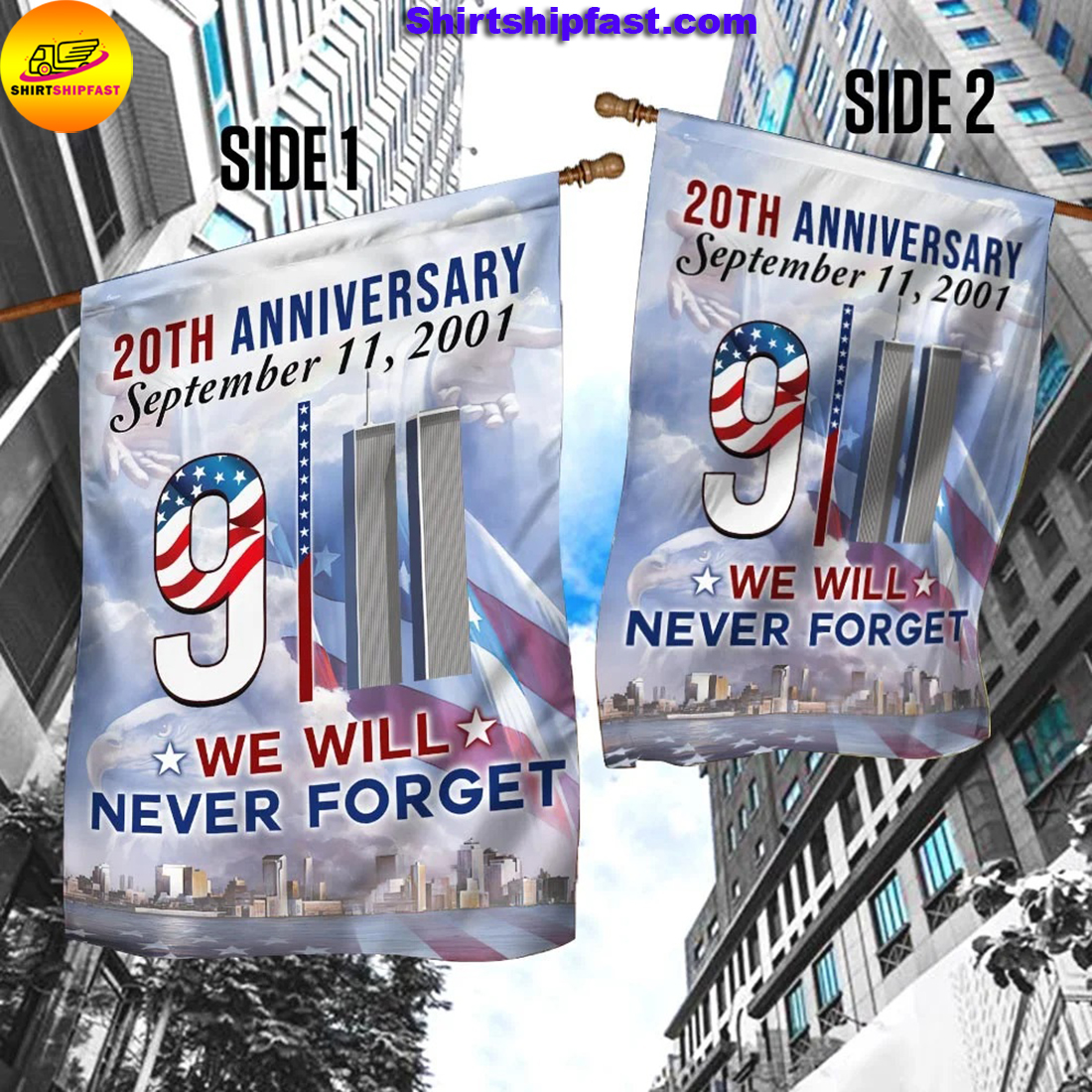 20th anniversary September 11 2001 we will never forget flag