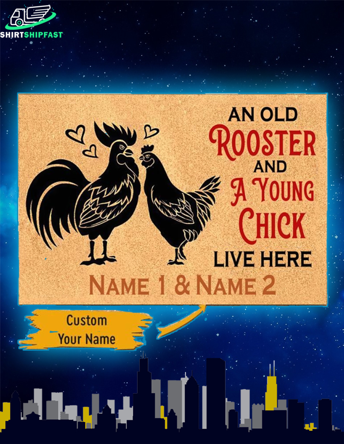 An old rooster and a young chick live here custom name doormat - Picture 1