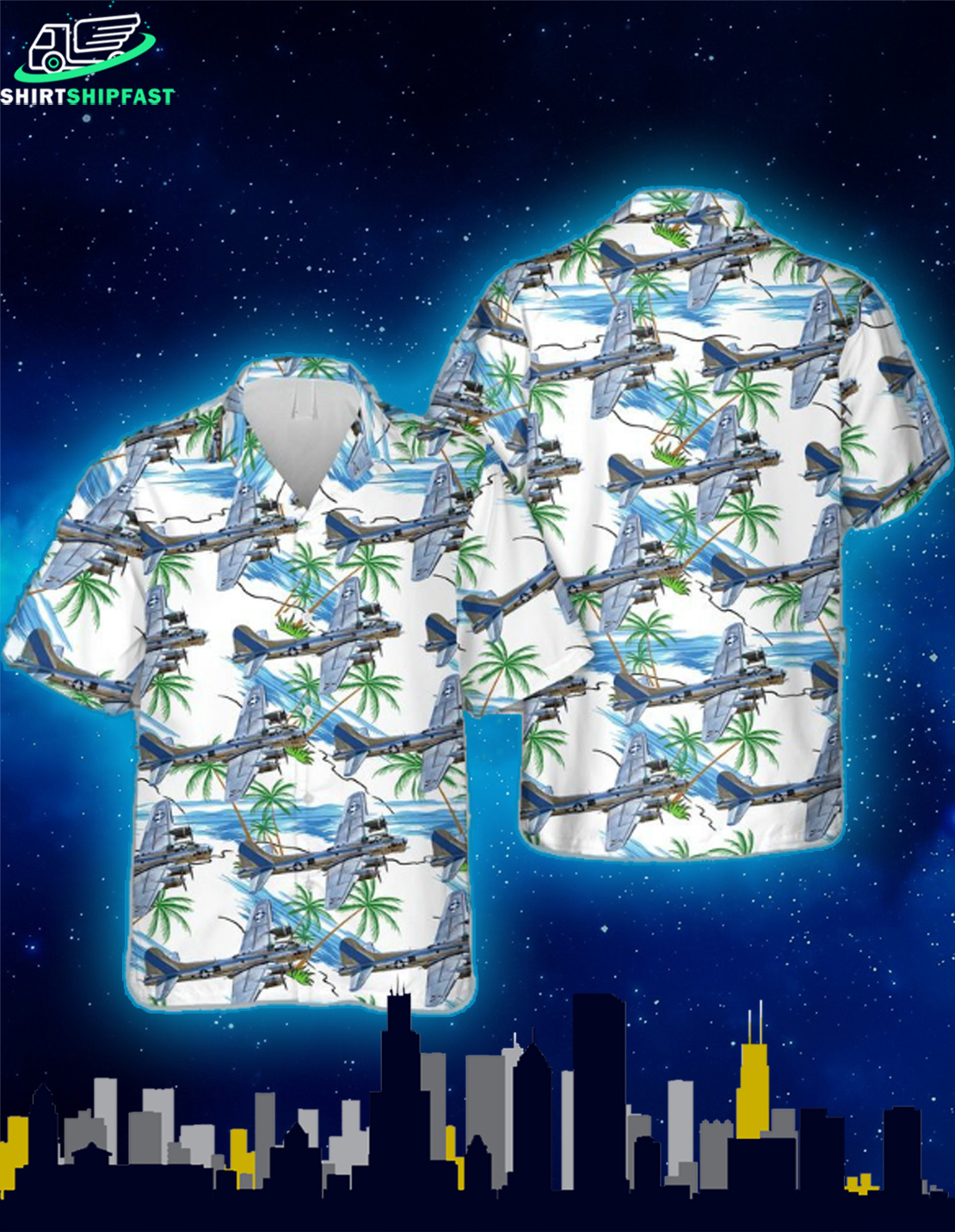 B-17 Flying Fortress of the 53rd WRS Hawaiian Shirt - Picture 1