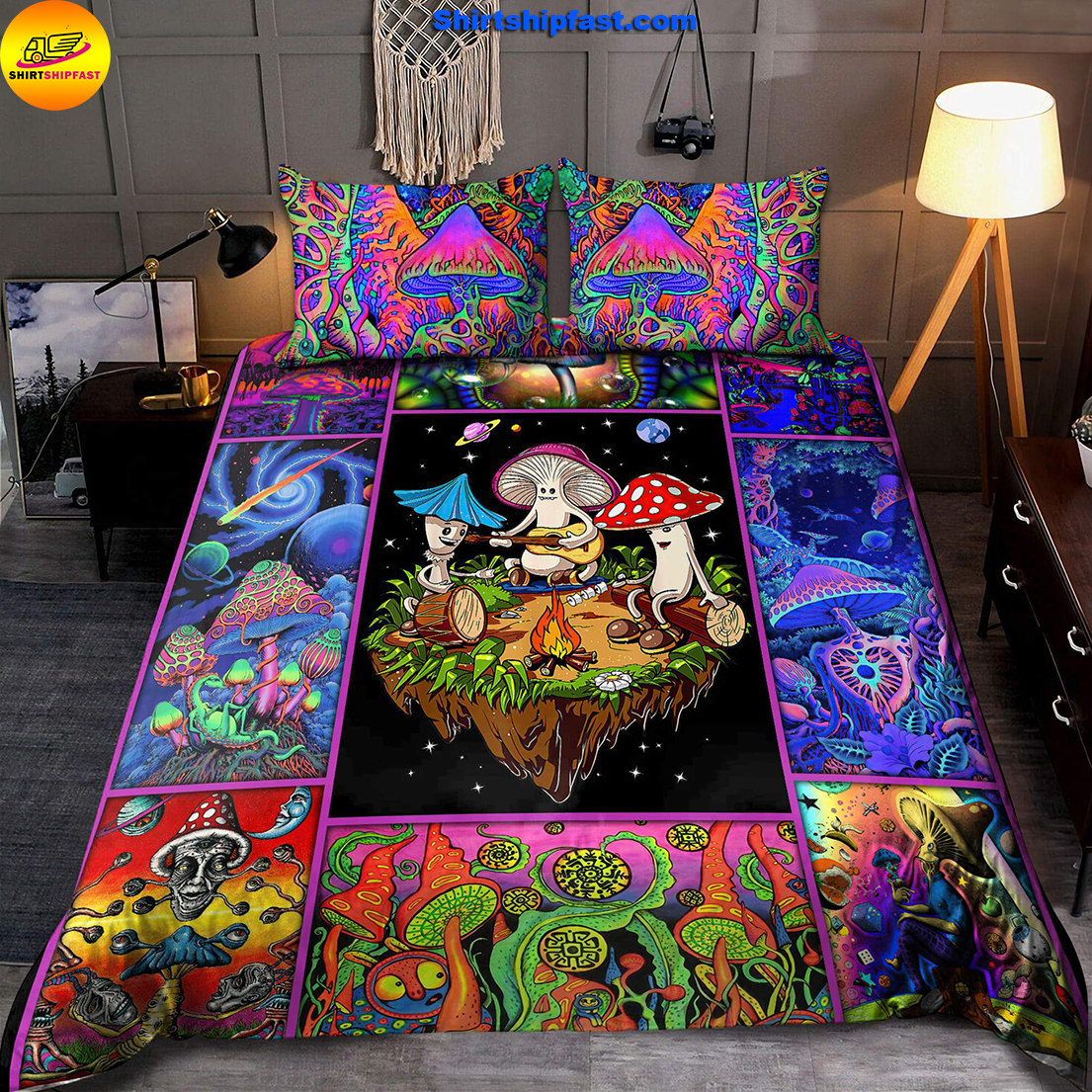 Colorful mushroom hippie bedding set - Picture 1