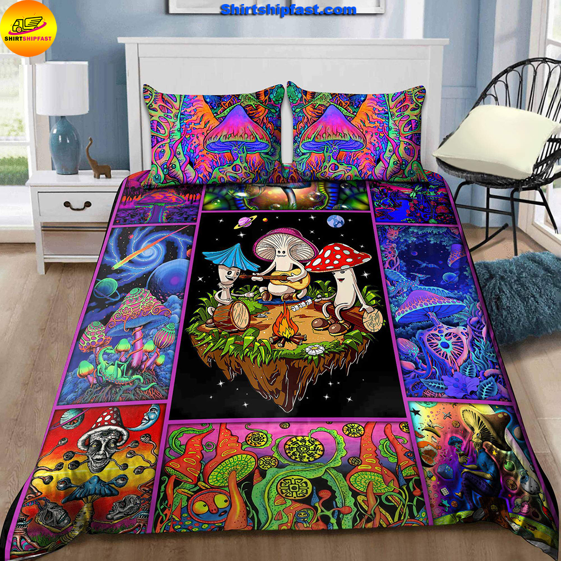 Colorful mushroom hippie bedding set - Picture 2