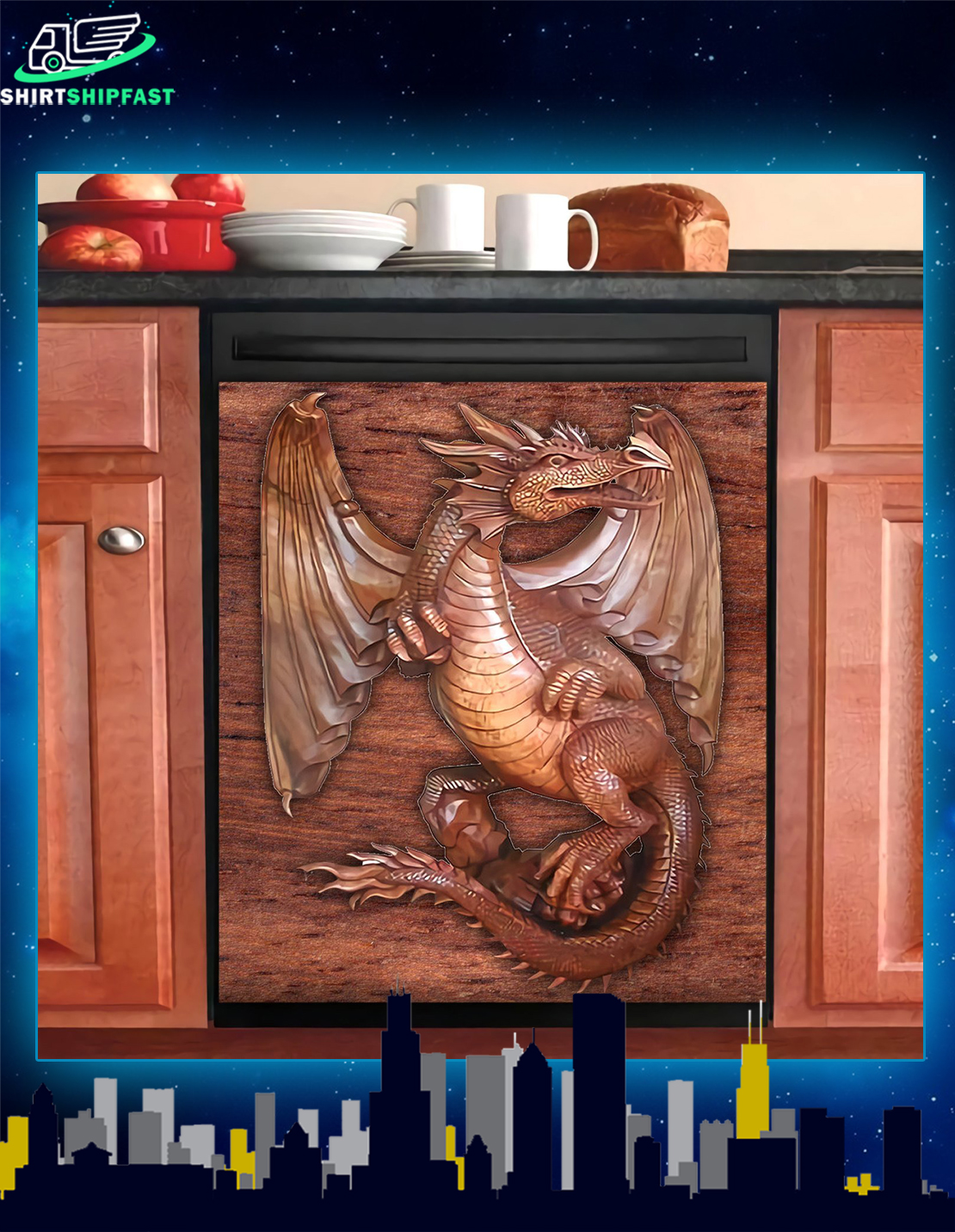 Dragon kitchen dishwasher cover - Picture 1
