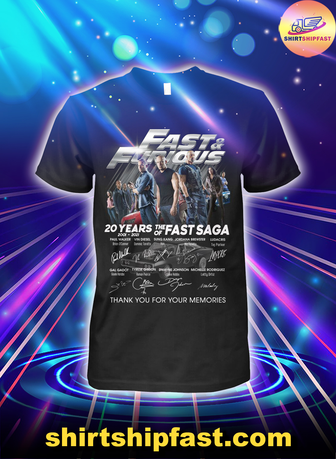Fast & Furious 20 years of the fast saga thank you for your memories shirt