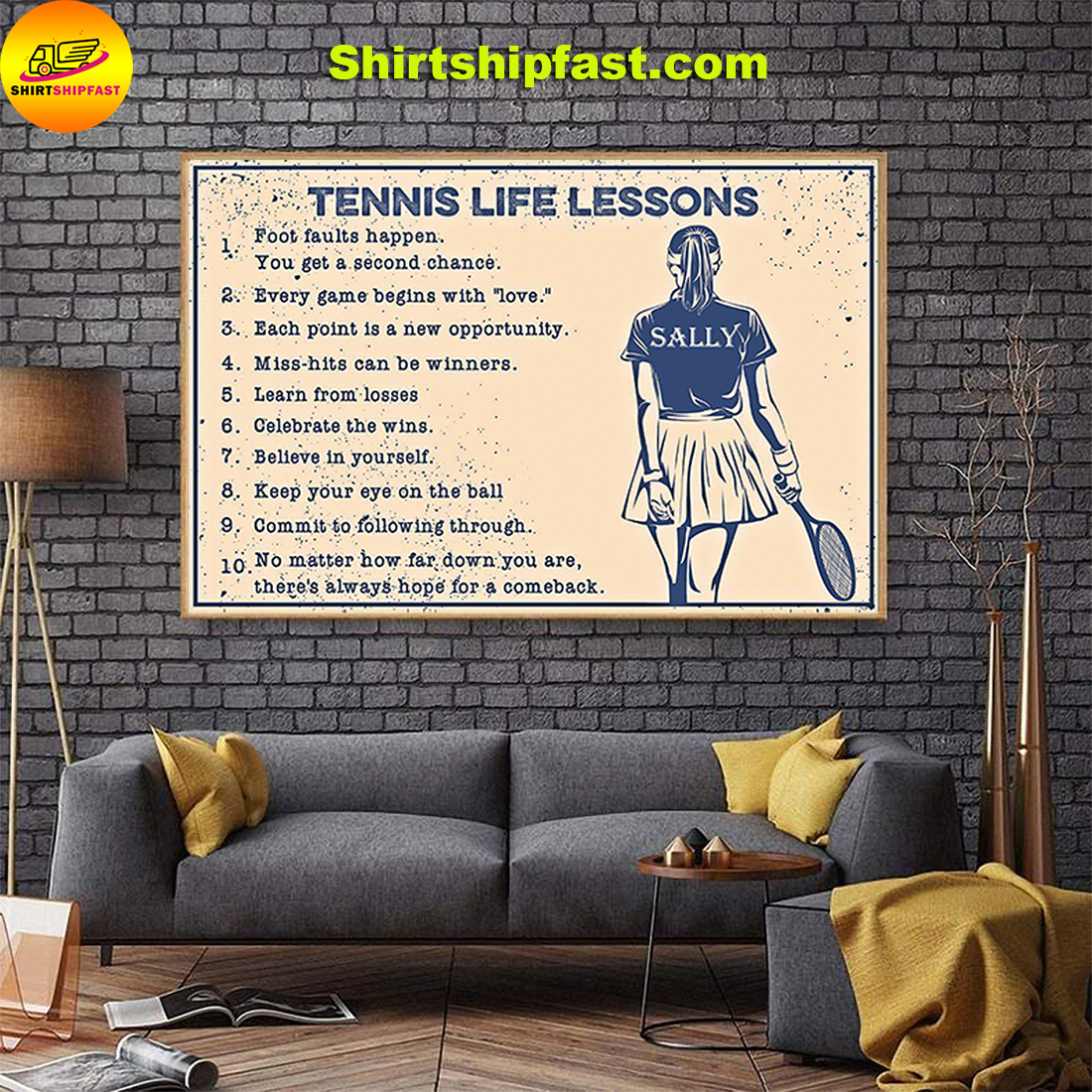 Girl Tennis life lessons personalized name poster