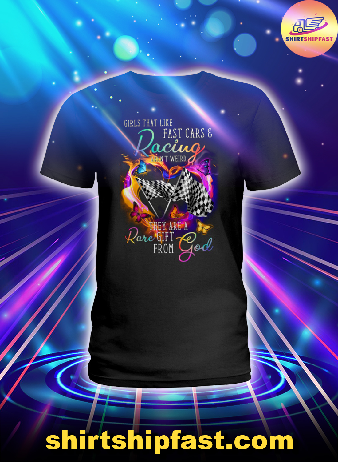 Girls that like fast cars and racing aren't weird lady shirt