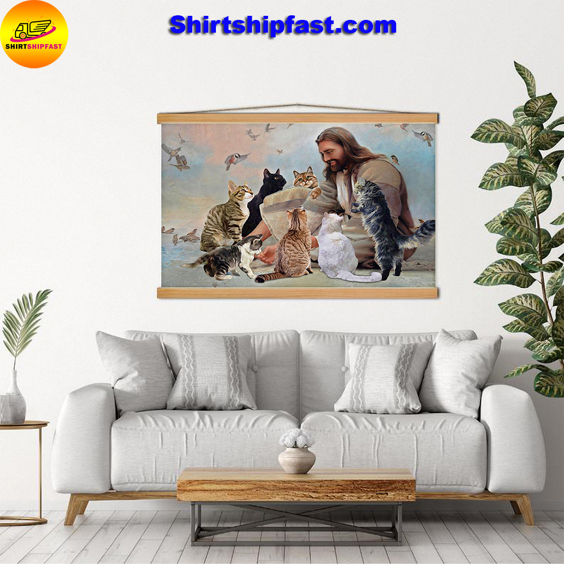 God surrounded Cats angels canvas - Picture 1
