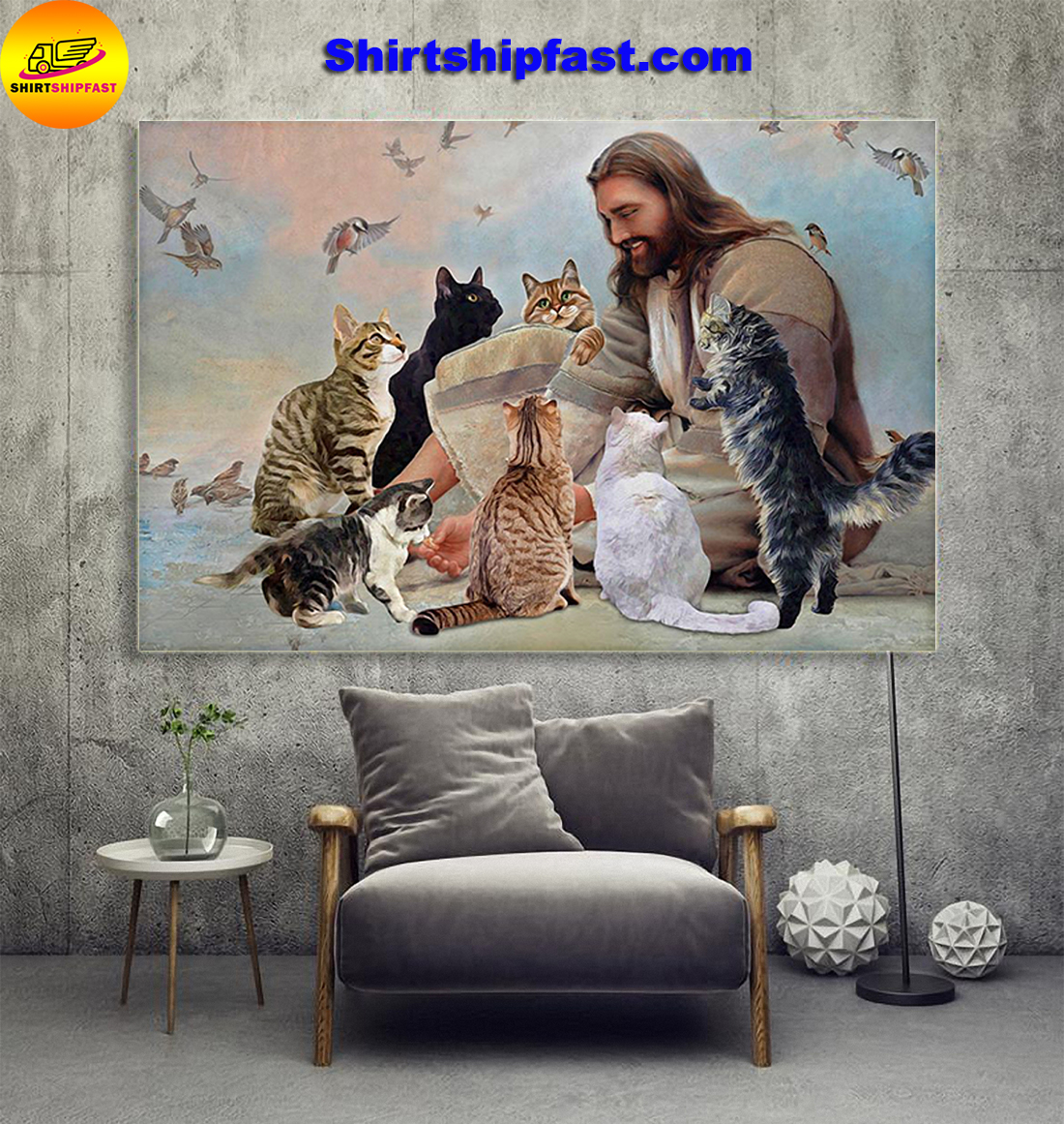 God surrounded Cats angels canvas