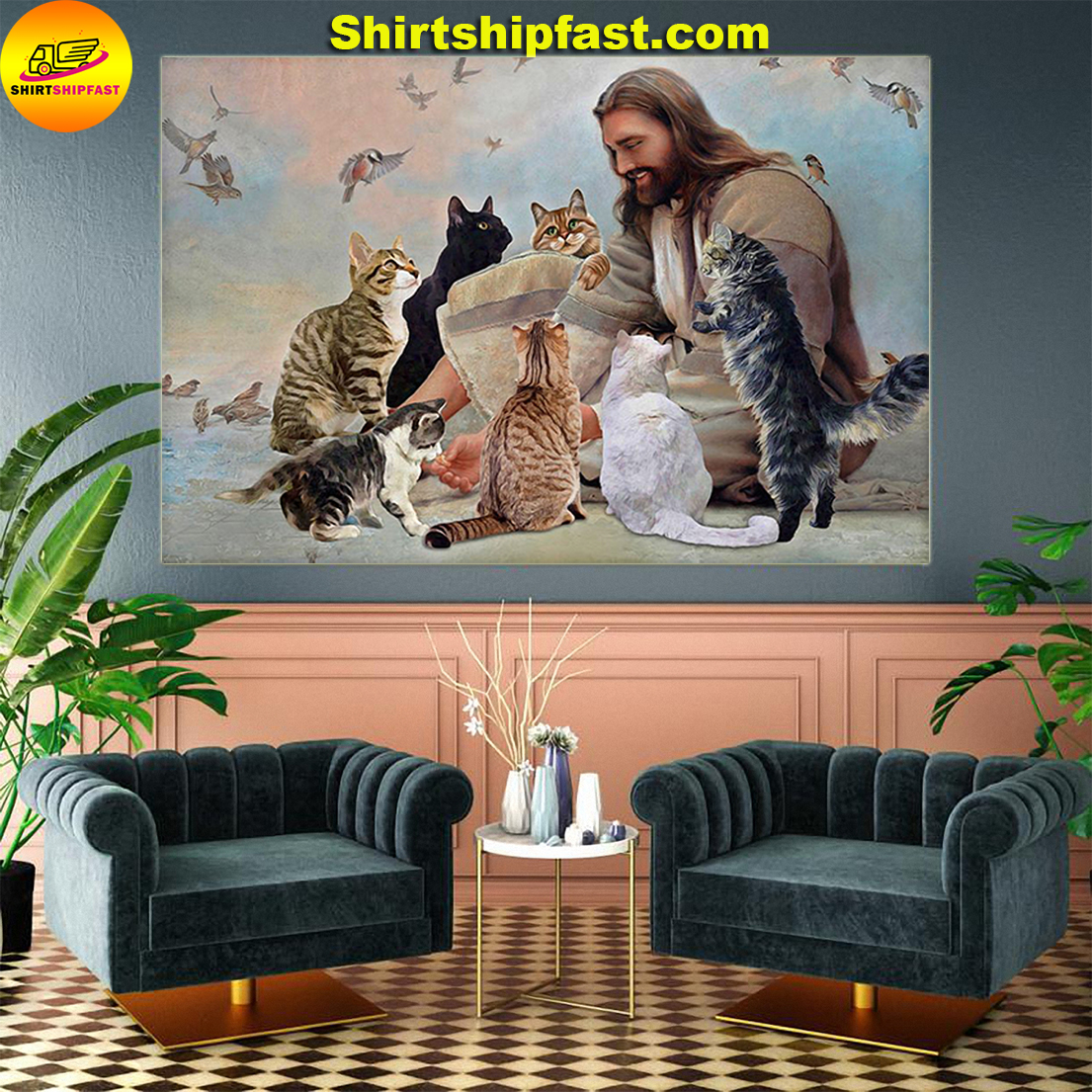 God surrounded Cats angels poster - Picture 1