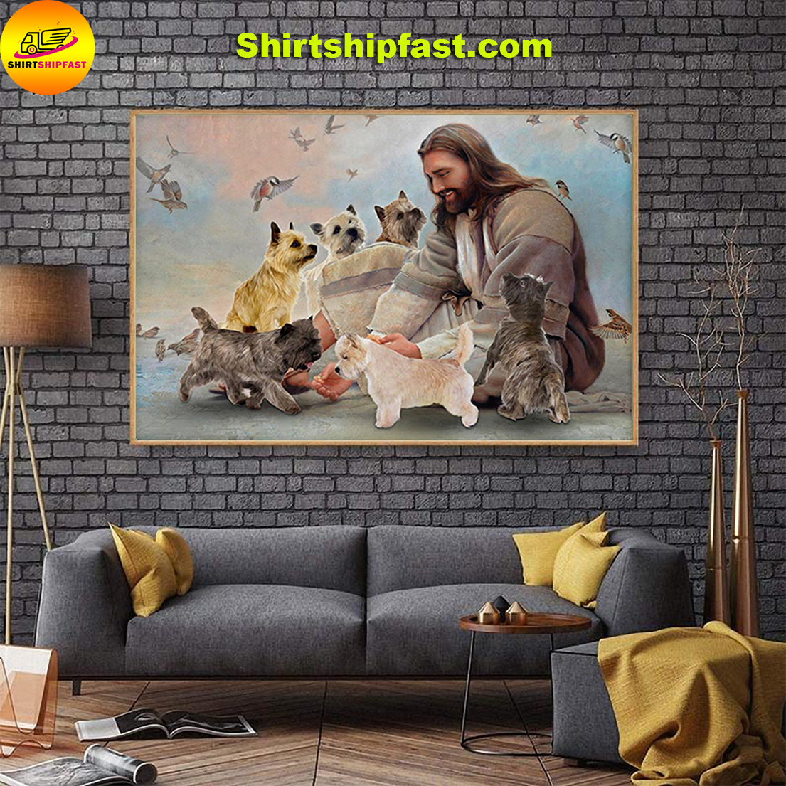 God surrounded by Cairn Terrier angels gift for you poster - Picture 1