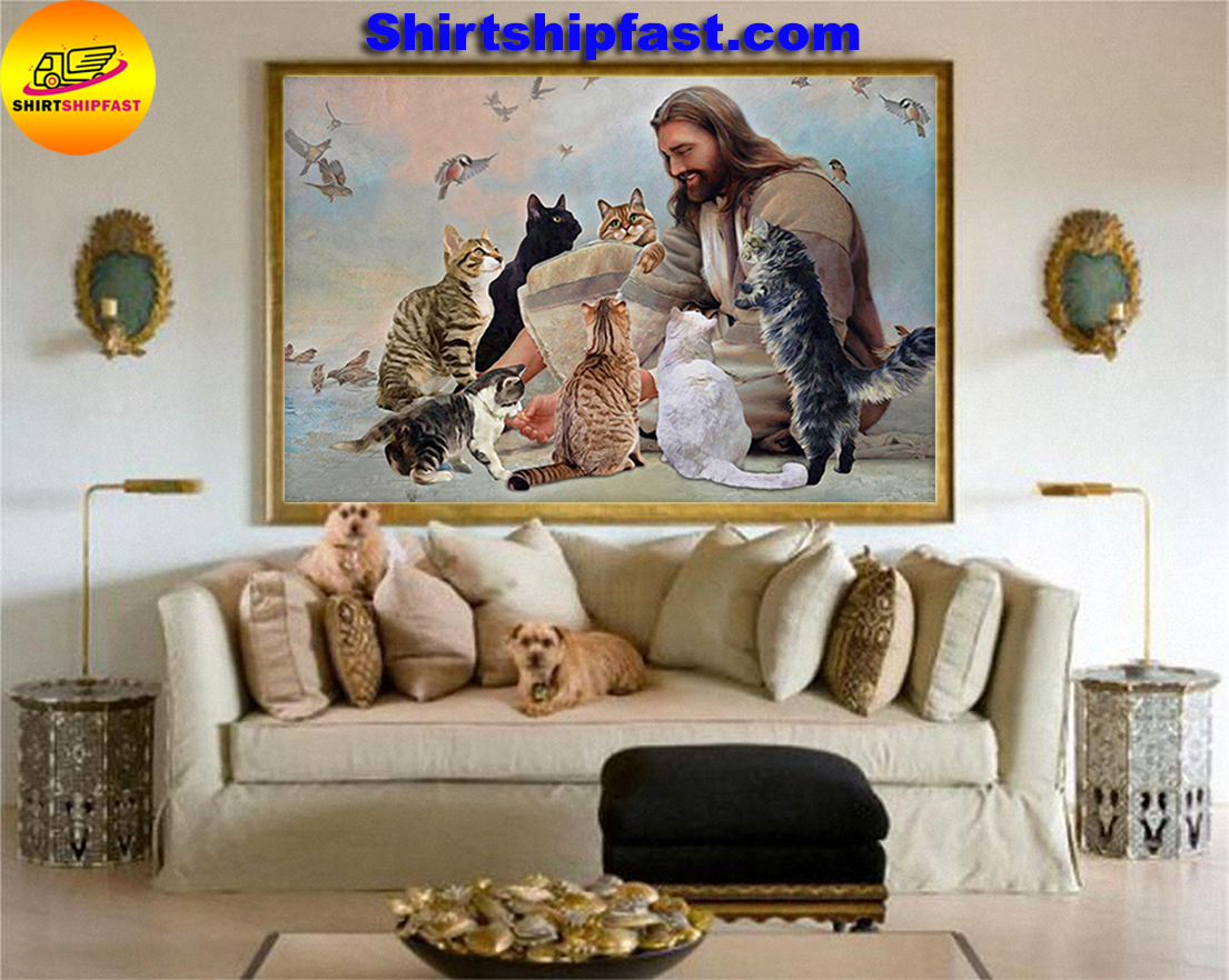 God surrounded by Cats angels poster and canvas - Picture 1