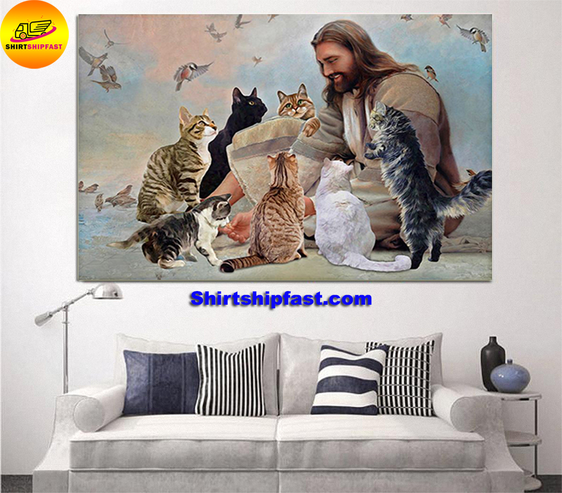 God surrounded by Cats angels poster and canvas - Picture 2