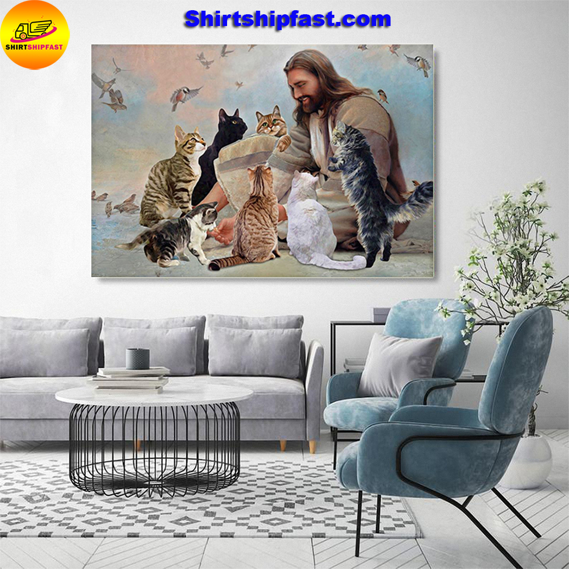 God surrounded by Cats angels poster and canvas - Picture 3