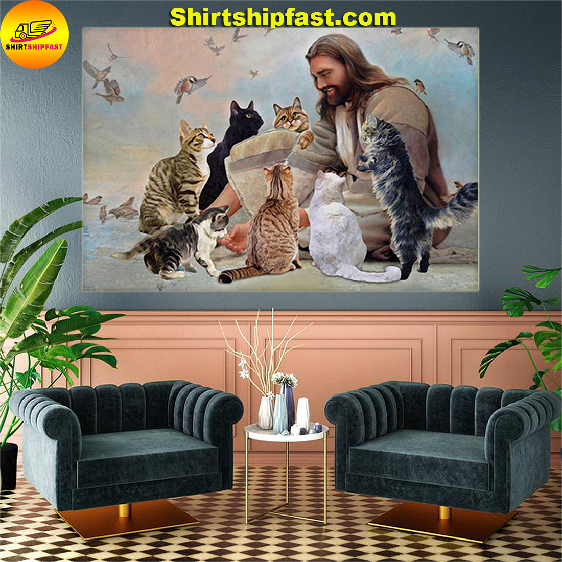 God surrounded by Cats angels poster and canvas