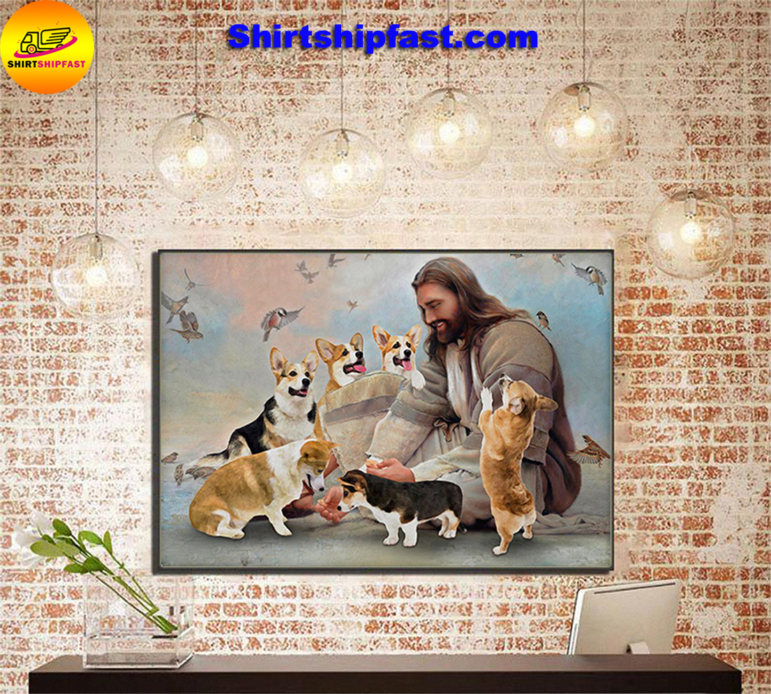 God surrounded by Corgi angels gift for you poster - Picture 1