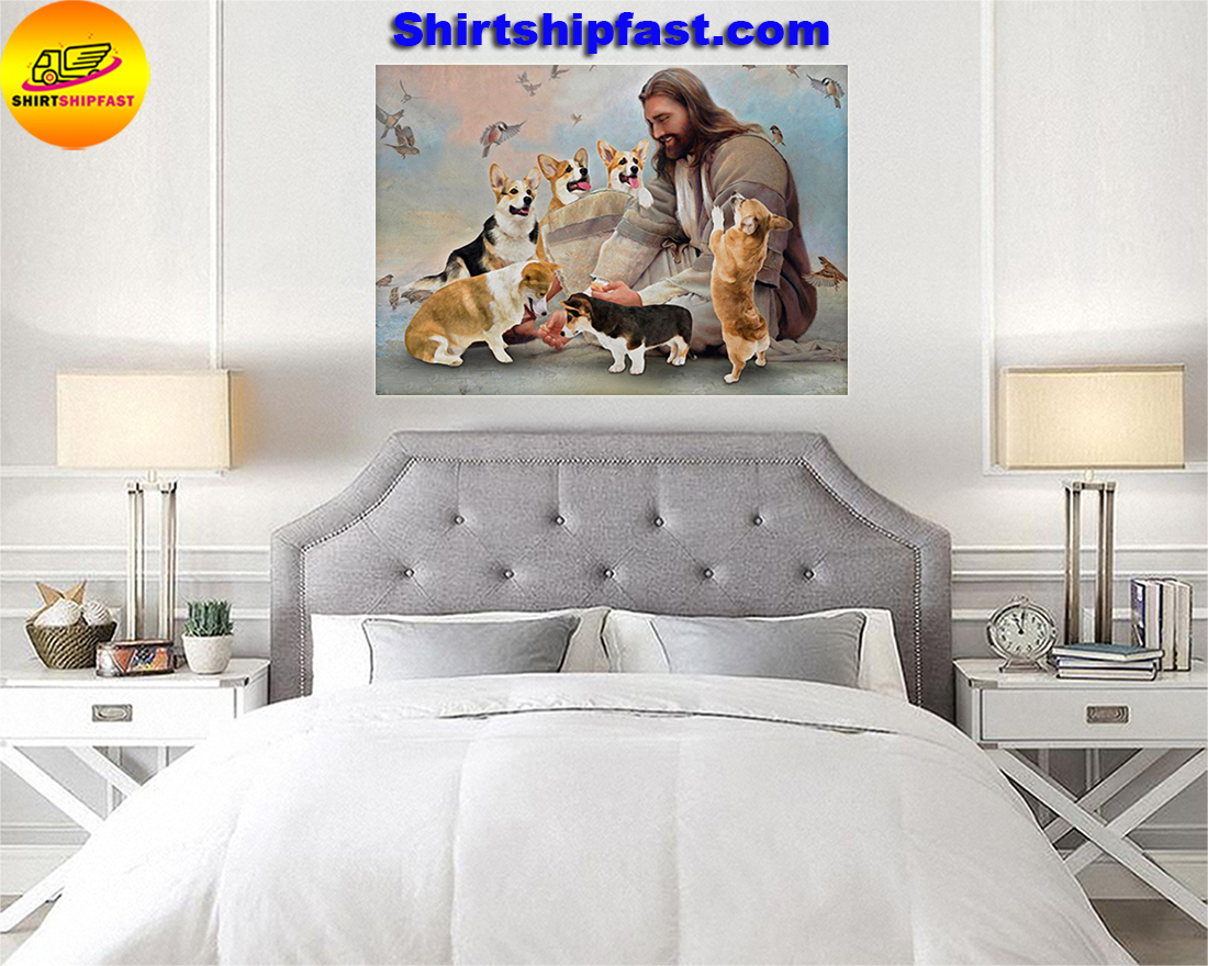 God surrounded by Corgi angels gift for you poster