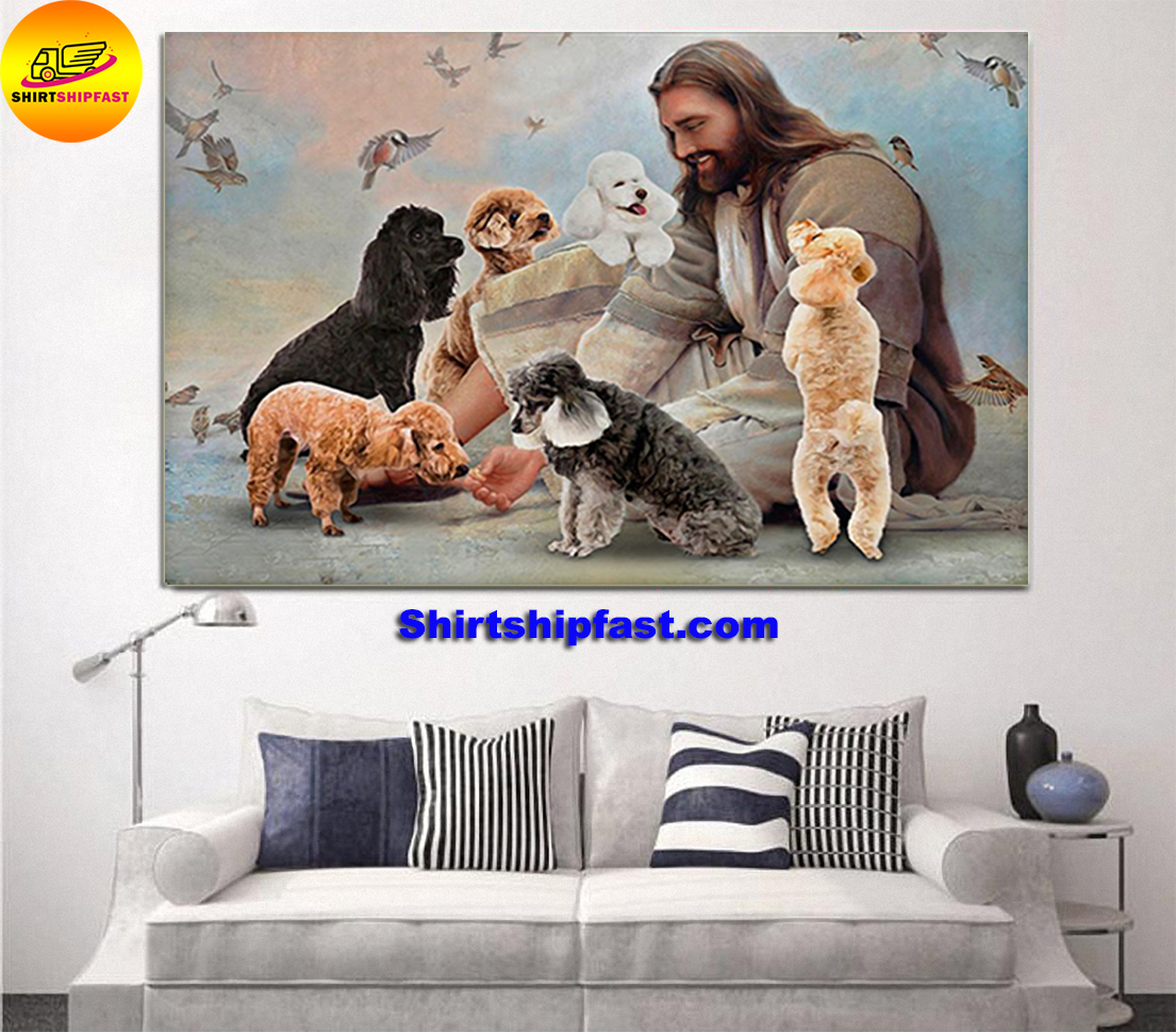 God surrounded by Poodle angels gift for you poster - Picture 1