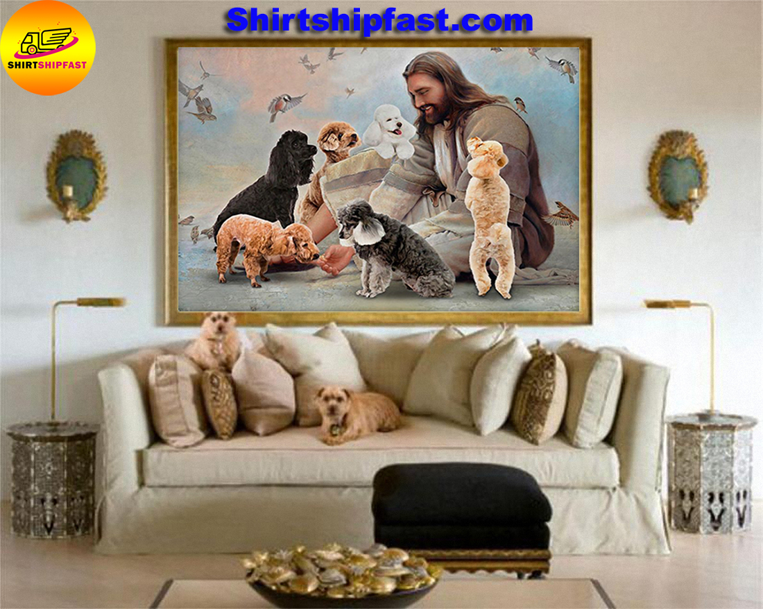 God surrounded by Poodle angels gift for you poster