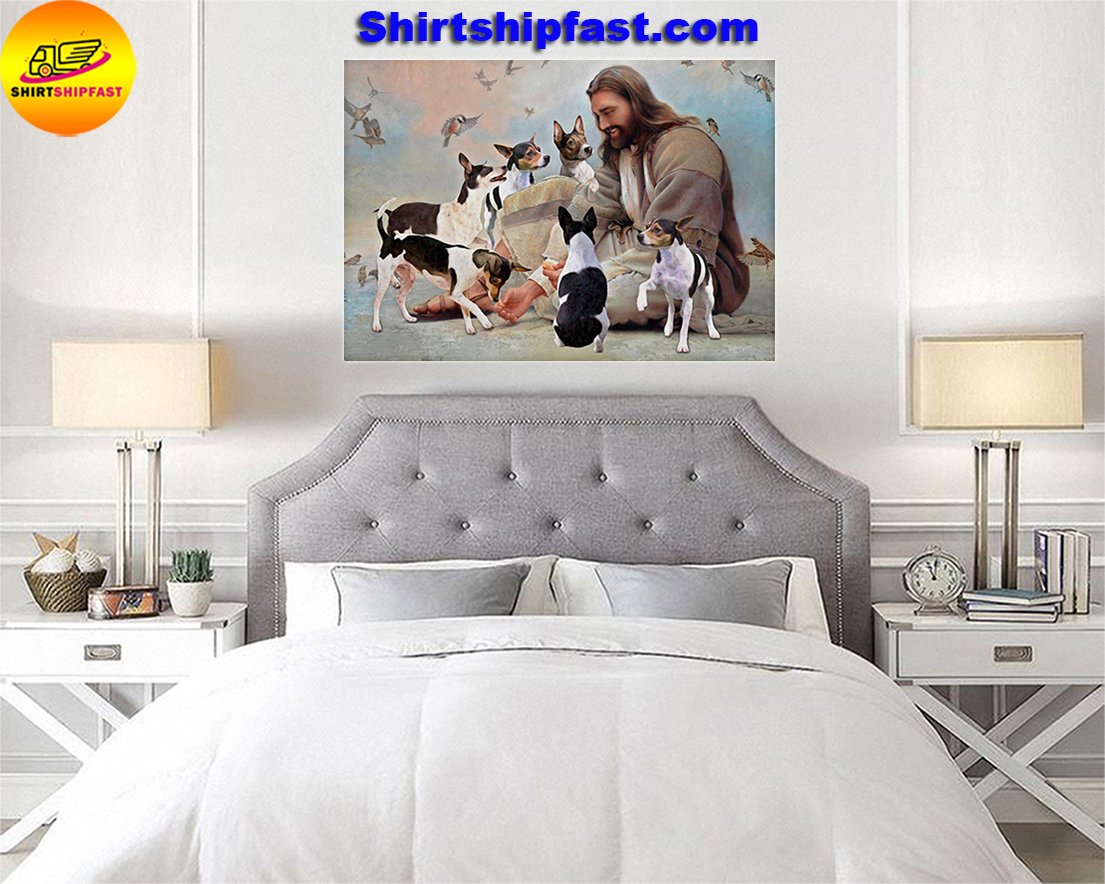 God surrounded by Rat Terrier angels gift for you poster - Picture 1