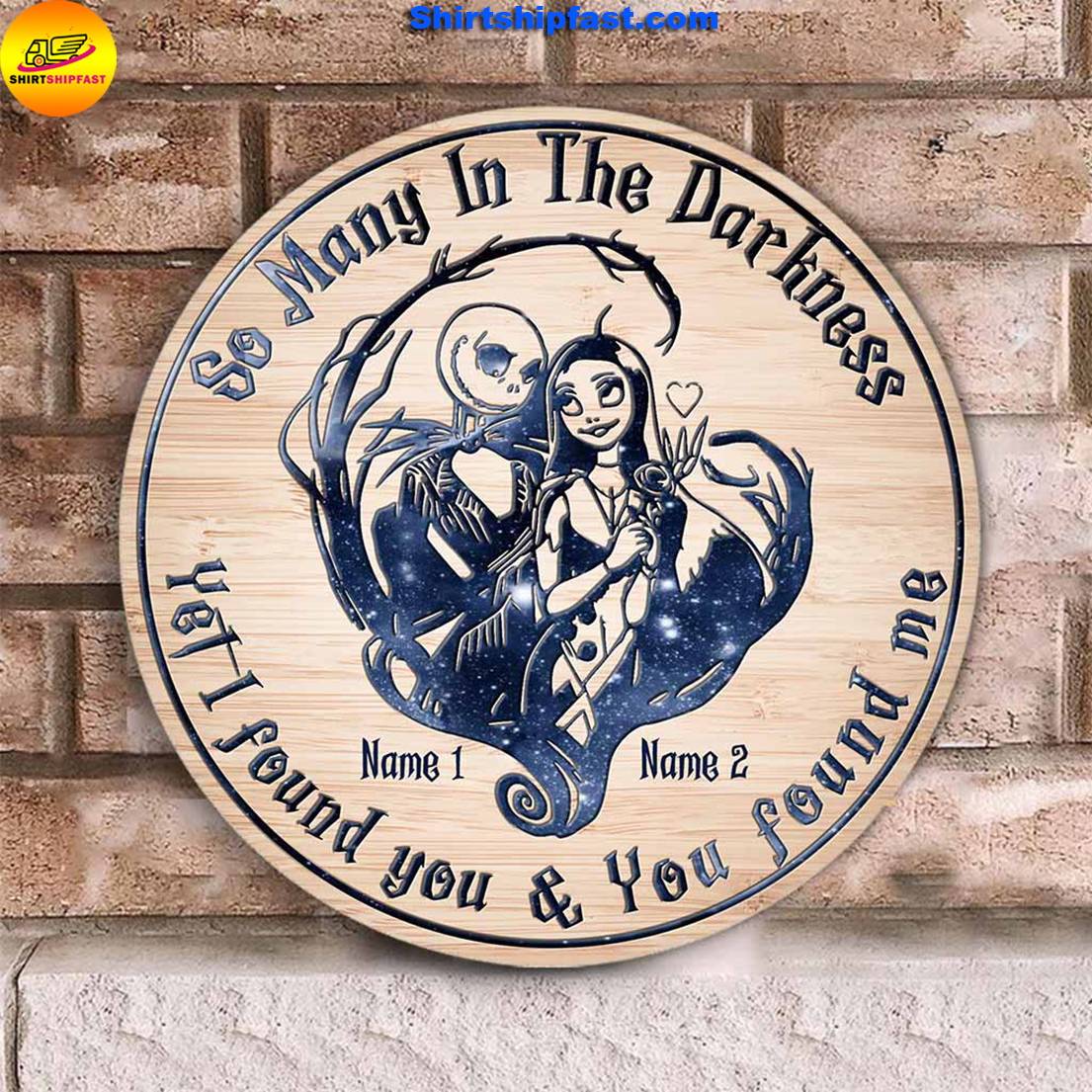 Jack And Sally So Many In The Darkness Personalized Round Wood Sign - Picture 1