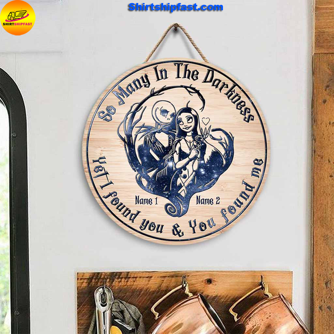 Jack And Sally So Many In The Darkness Personalized Round Wood Sign - Picture 2