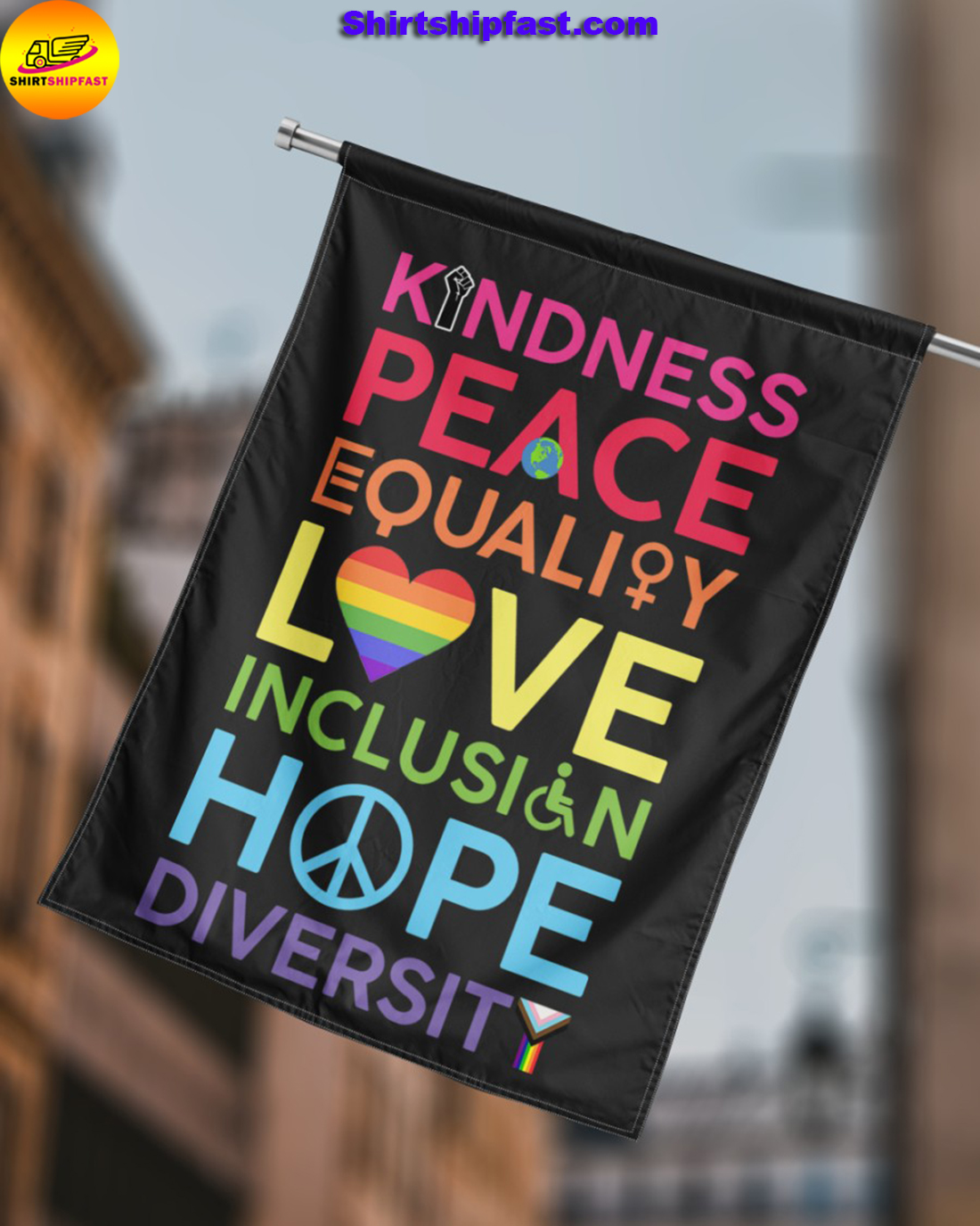 LGBT Kindness peace equality love inclusion hope diversity symbol flag