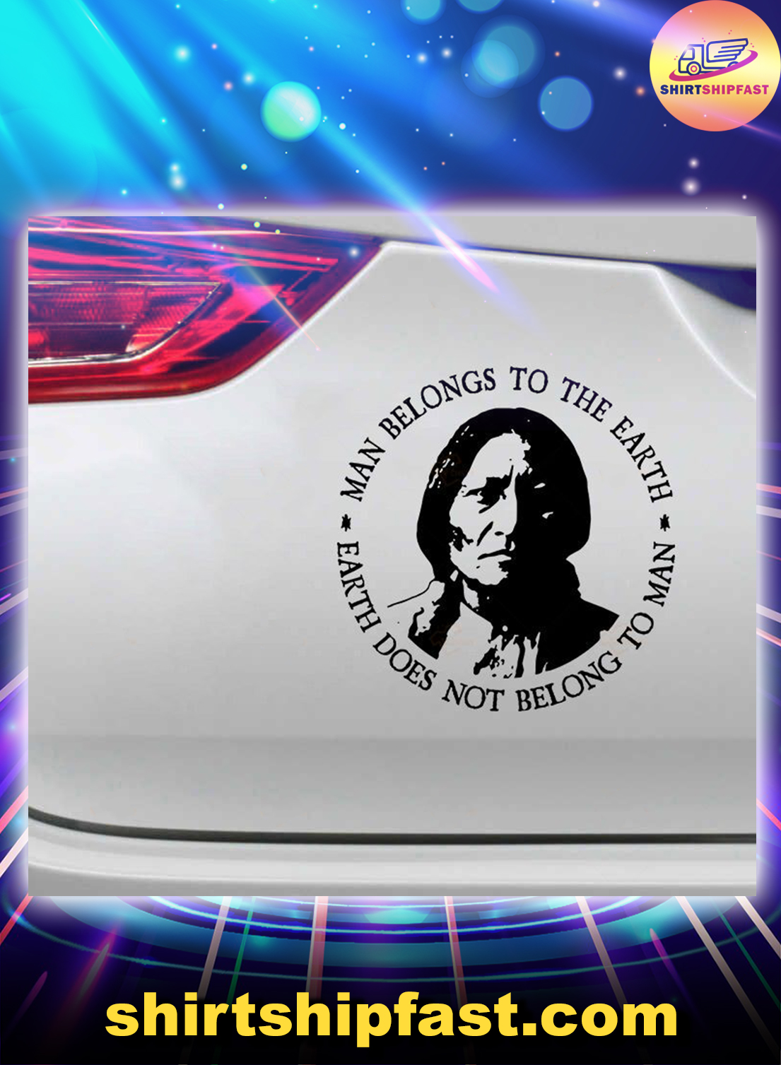 Native American Man belongs to the earth car sticker - Picture 1