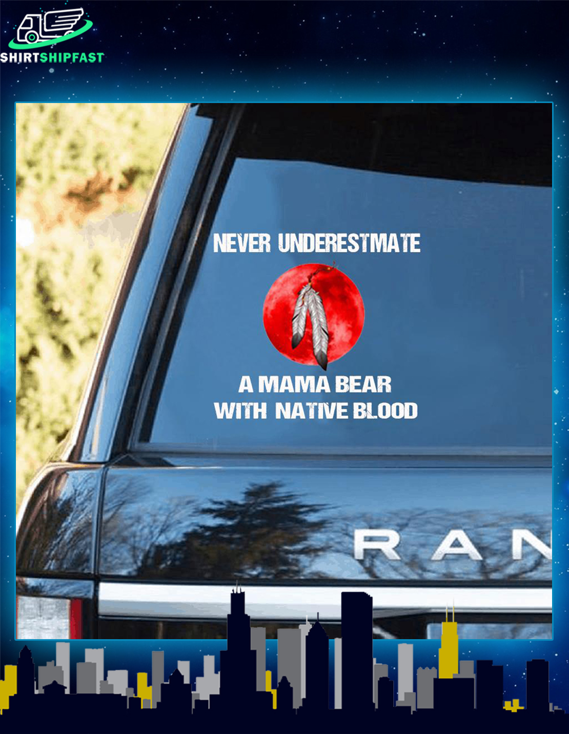 Native American Never underestimate a mama bear with native blood car sticker - Picture 2