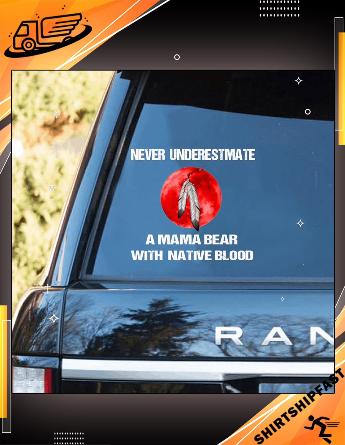 Native American Never underestimate a mama bear with native blood car sticker - Picture 3
