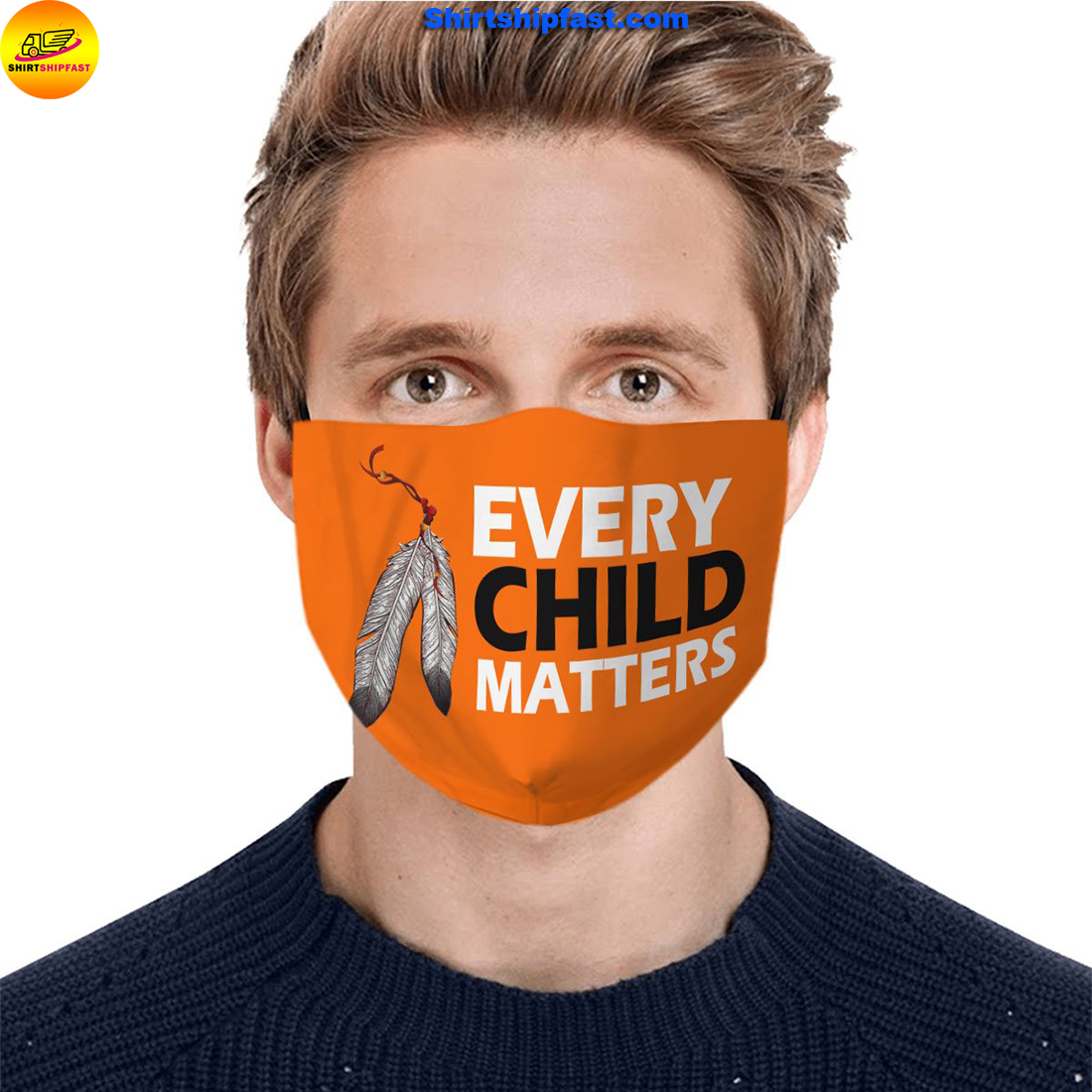 Native American every child matters orange on canada's day face mask