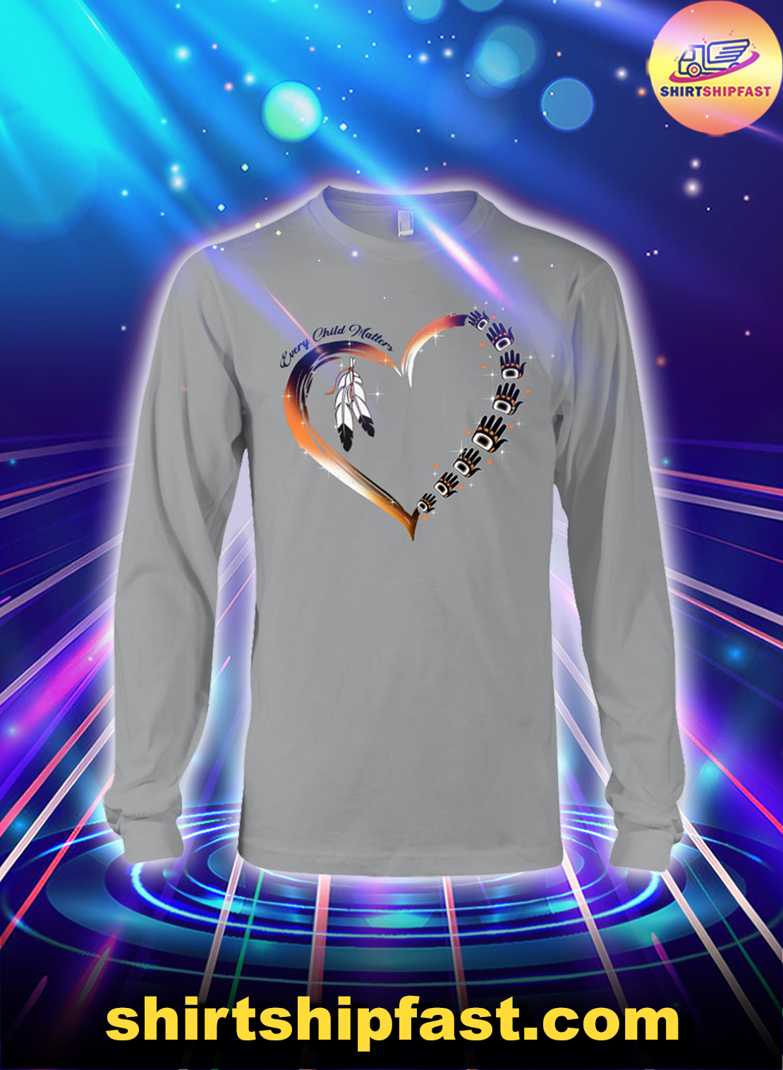 Native American heart Every child matters long sleeve tee
