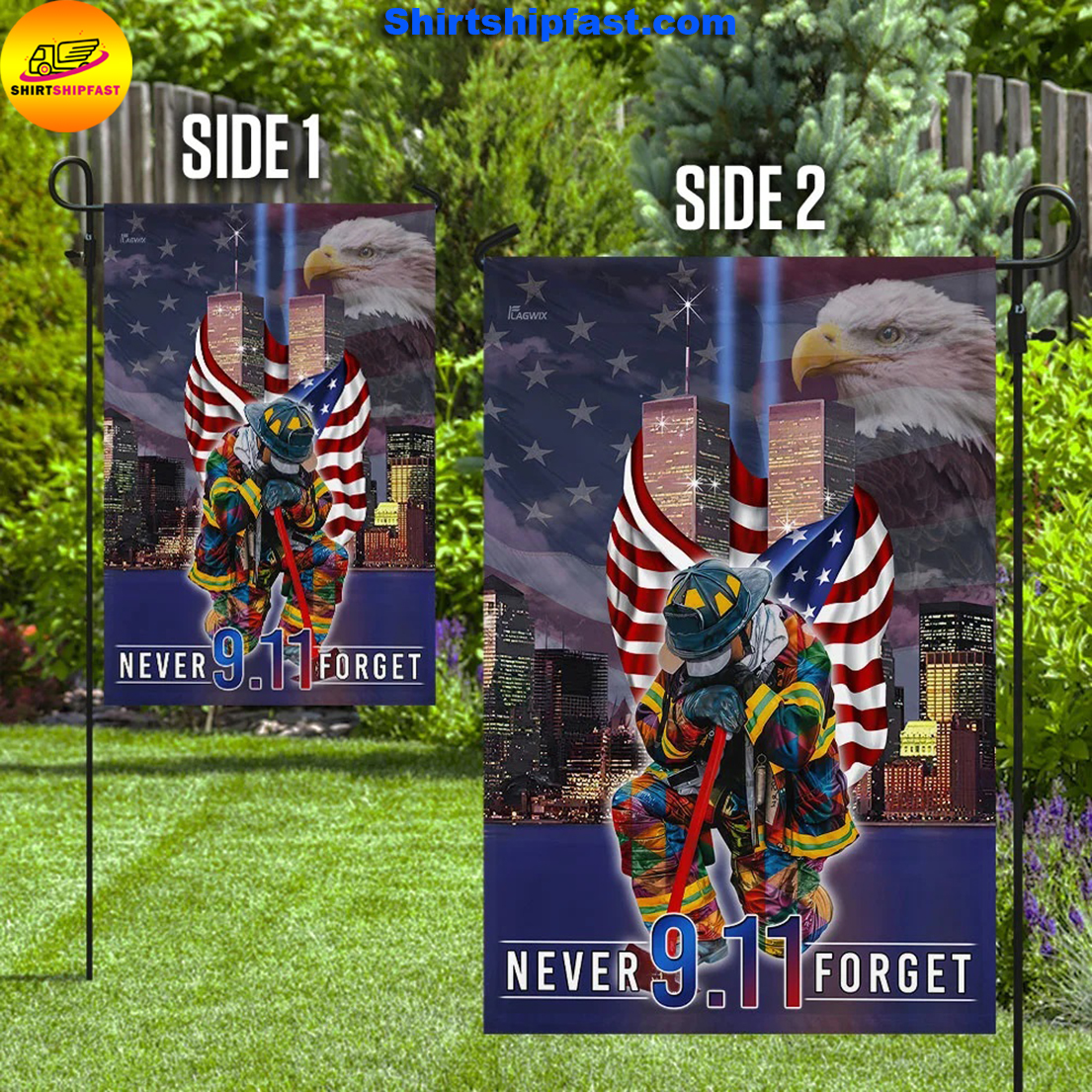 Never forget September 11th American flag - Picture 1