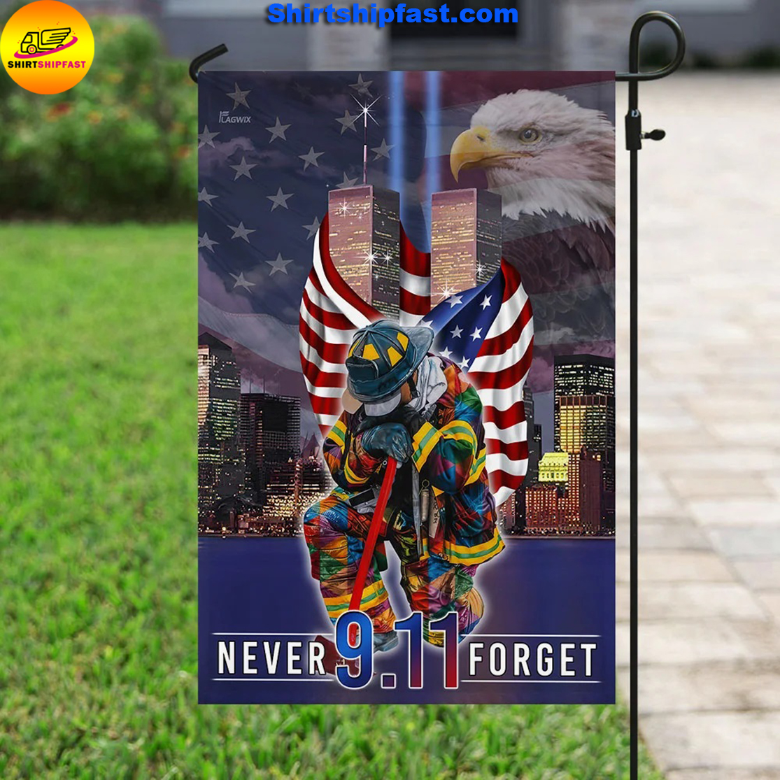 Never forget September 11th American flag - Picture 3