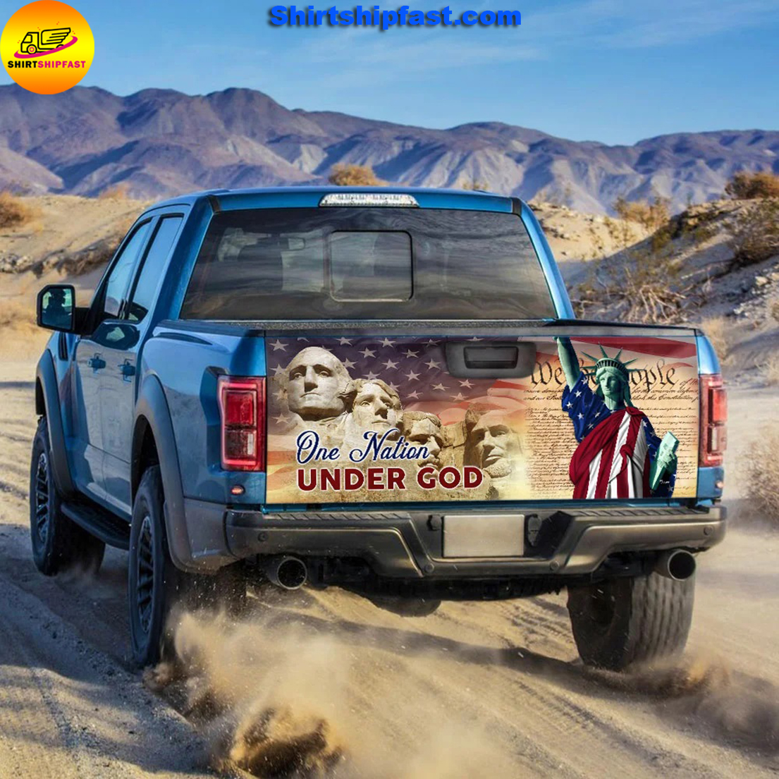 One nation under god American pride truck tailgate decal sticker wrap - Picture 1