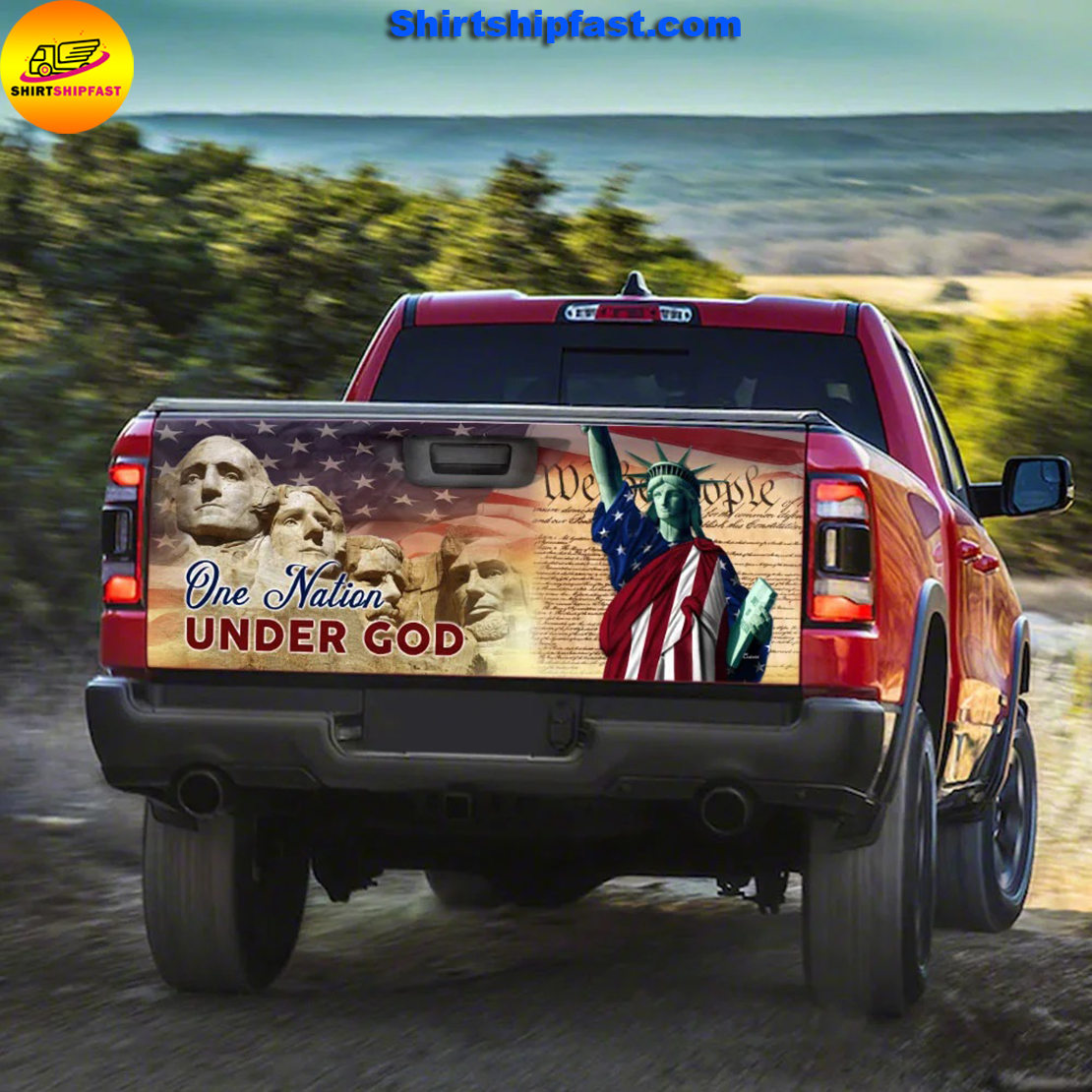 One nation under god American pride truck tailgate decal sticker wrap - Picture 2