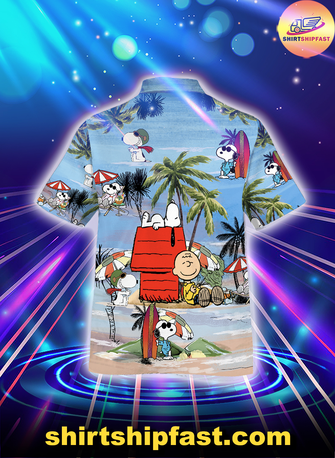 Peanuts Snoopy summer time hawaiian shirt - Picture 1