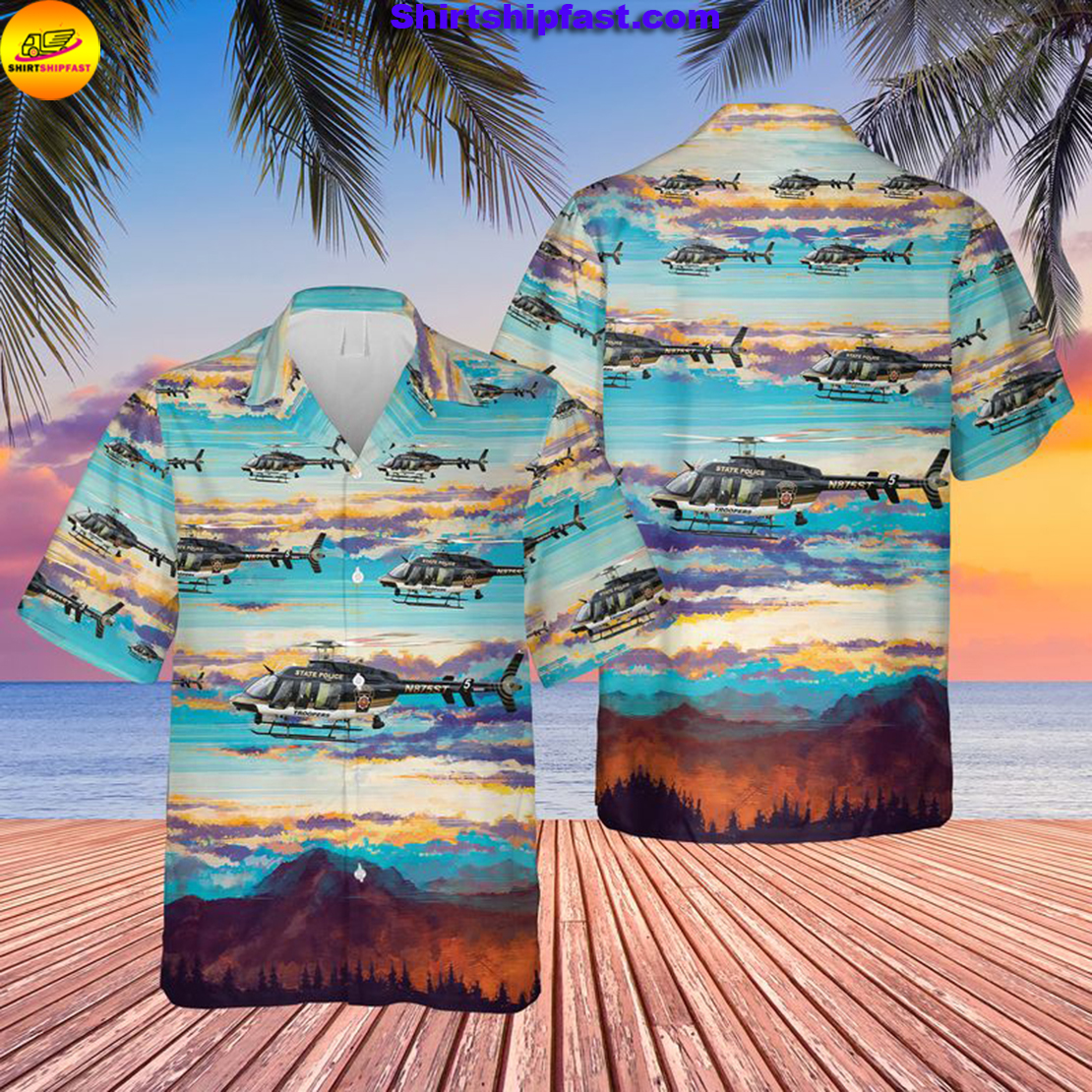 Pennsylvania State Police Bell 407GX Helicopter Hawaiian Shirt - Picture 1