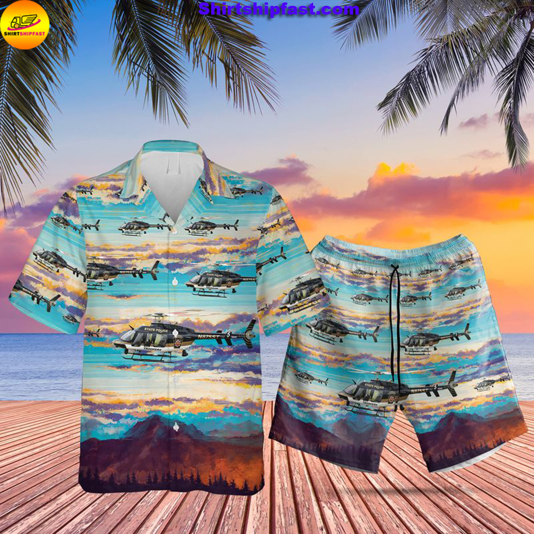 Pennsylvania State Police Bell 407GX Helicopter Hawaiian Shirt