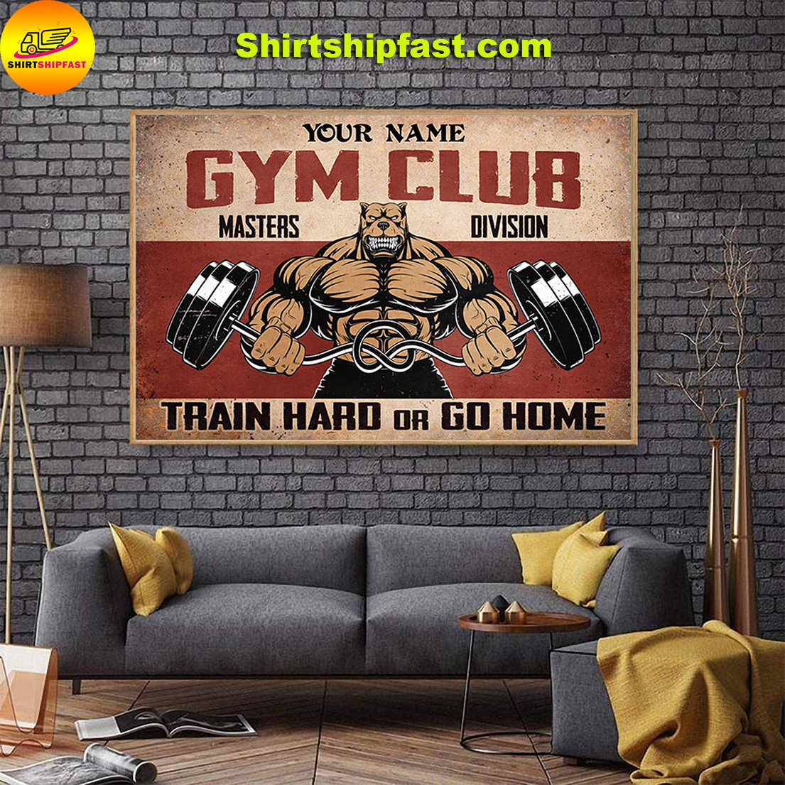 Personalized custom name Pitbull Gym club masters division train hard or go home poster - Picture 1