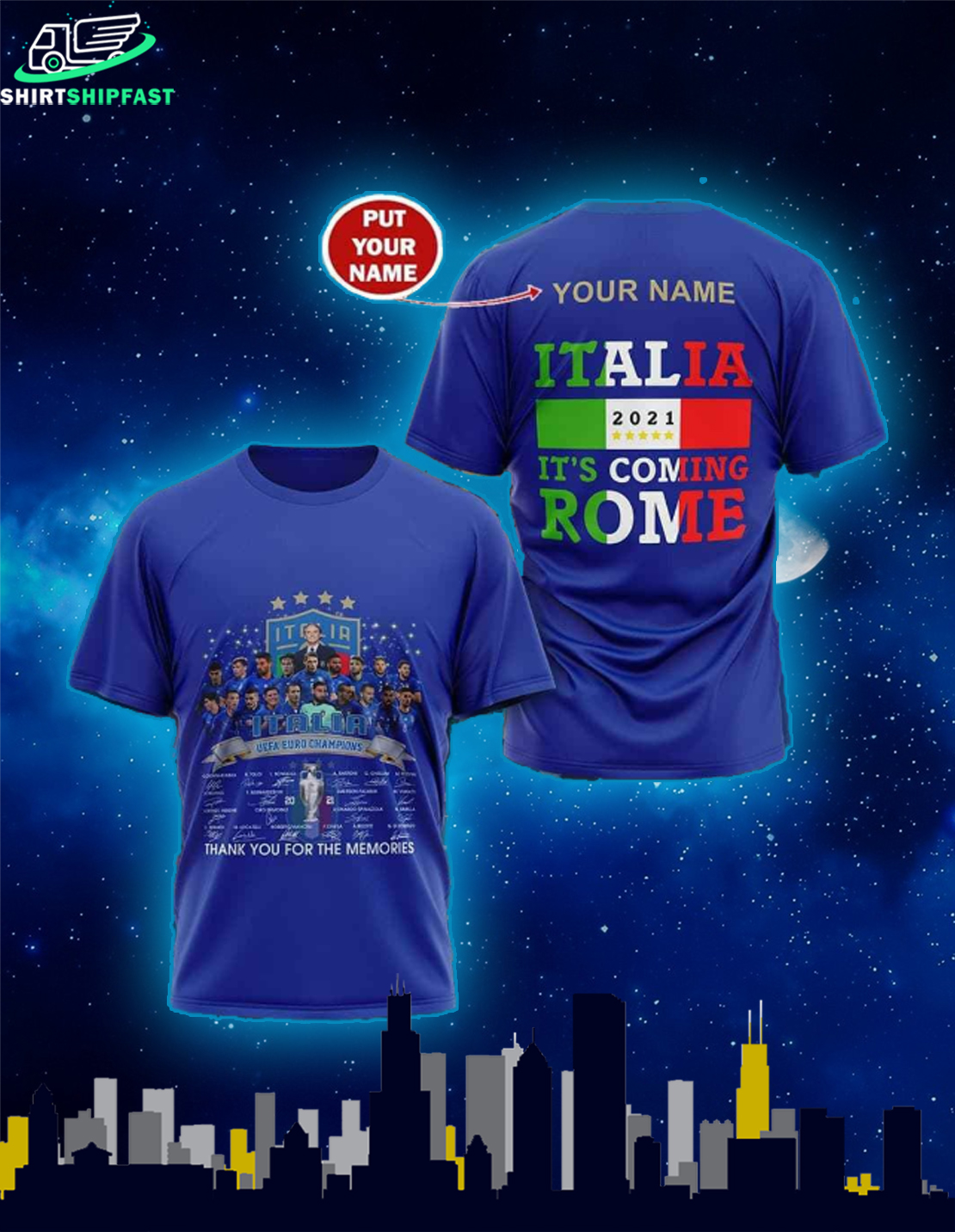 Personalized name Italia Uefa Euro champions signatures It's coming Rome shirt - Picture 2