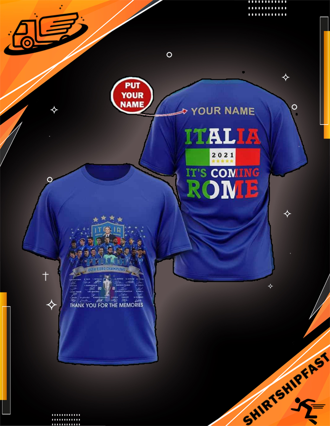 Personalized name Italia Uefa Euro champions signatures It's coming Rome shirt - Picture 3