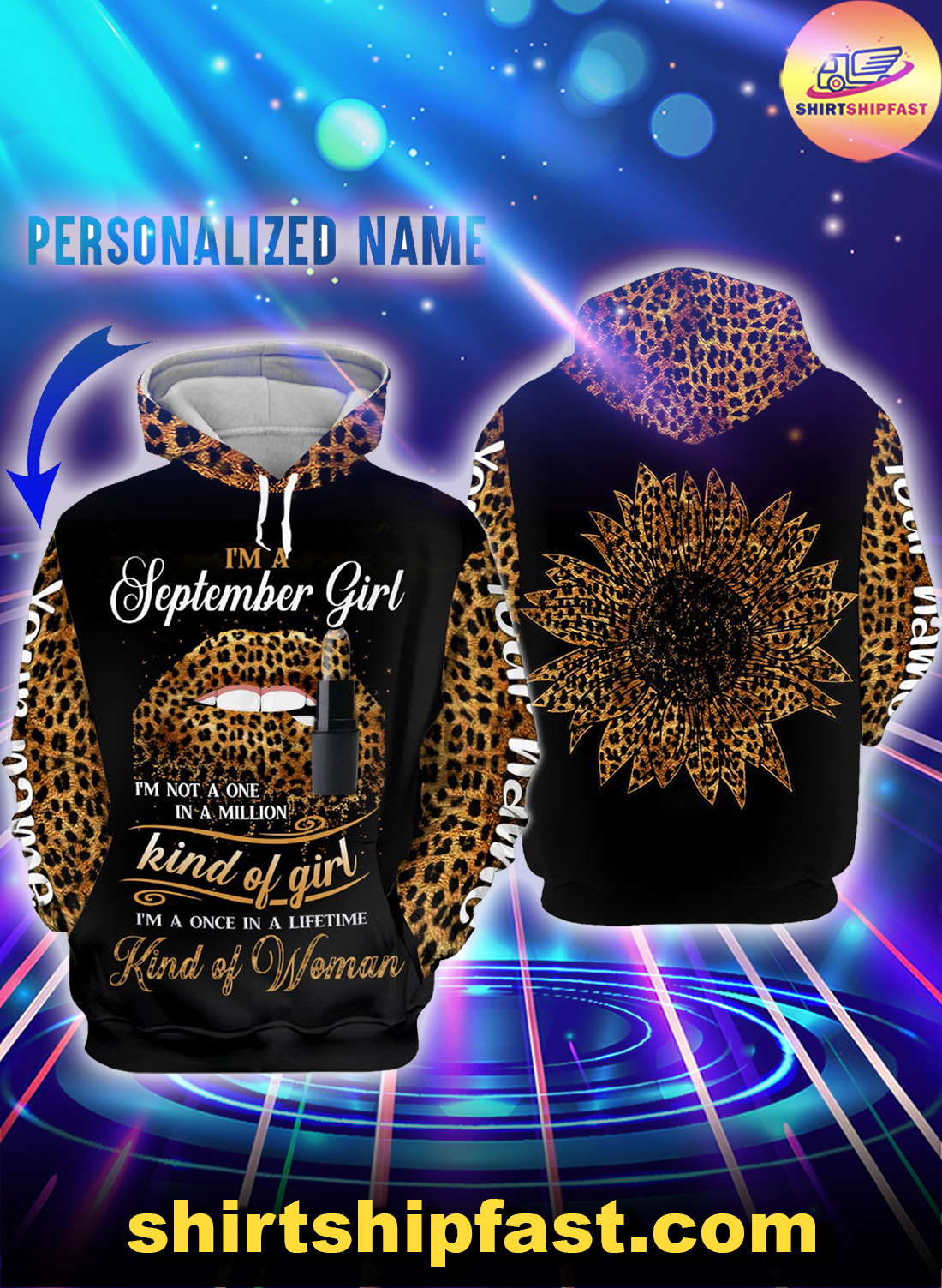 Personalized name sunflower lips September girl all over printed hoodie