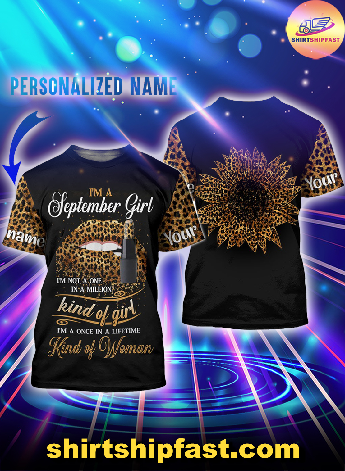 Personalized name sunflower lips September girl all over printed t-shirt