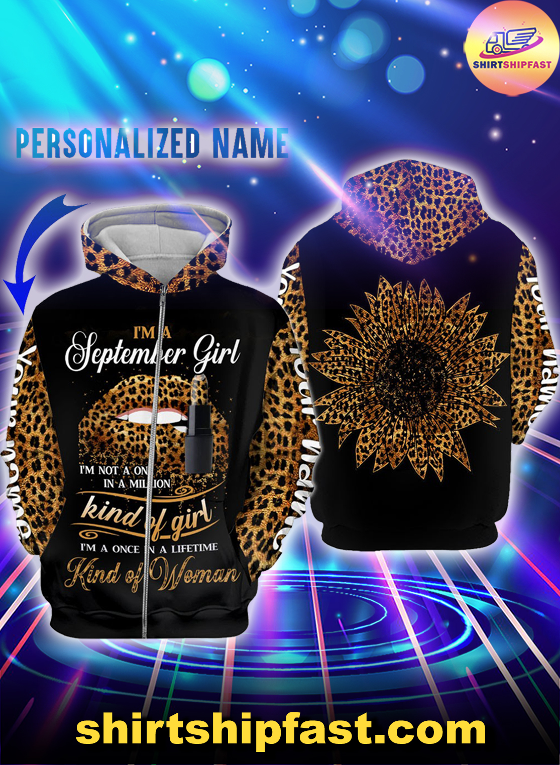 Personalized name sunflower lips September girl all over printed zip hoodie