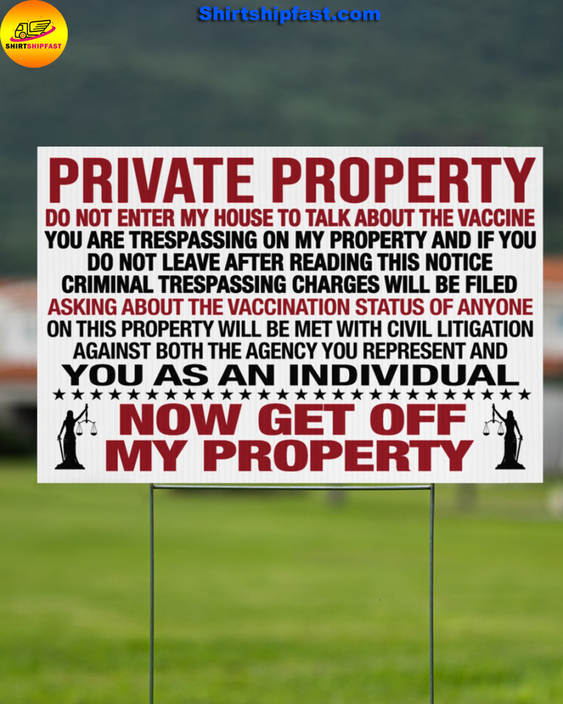 Private property do not enter my house to talk about the vaccine yard signs - Picture 1