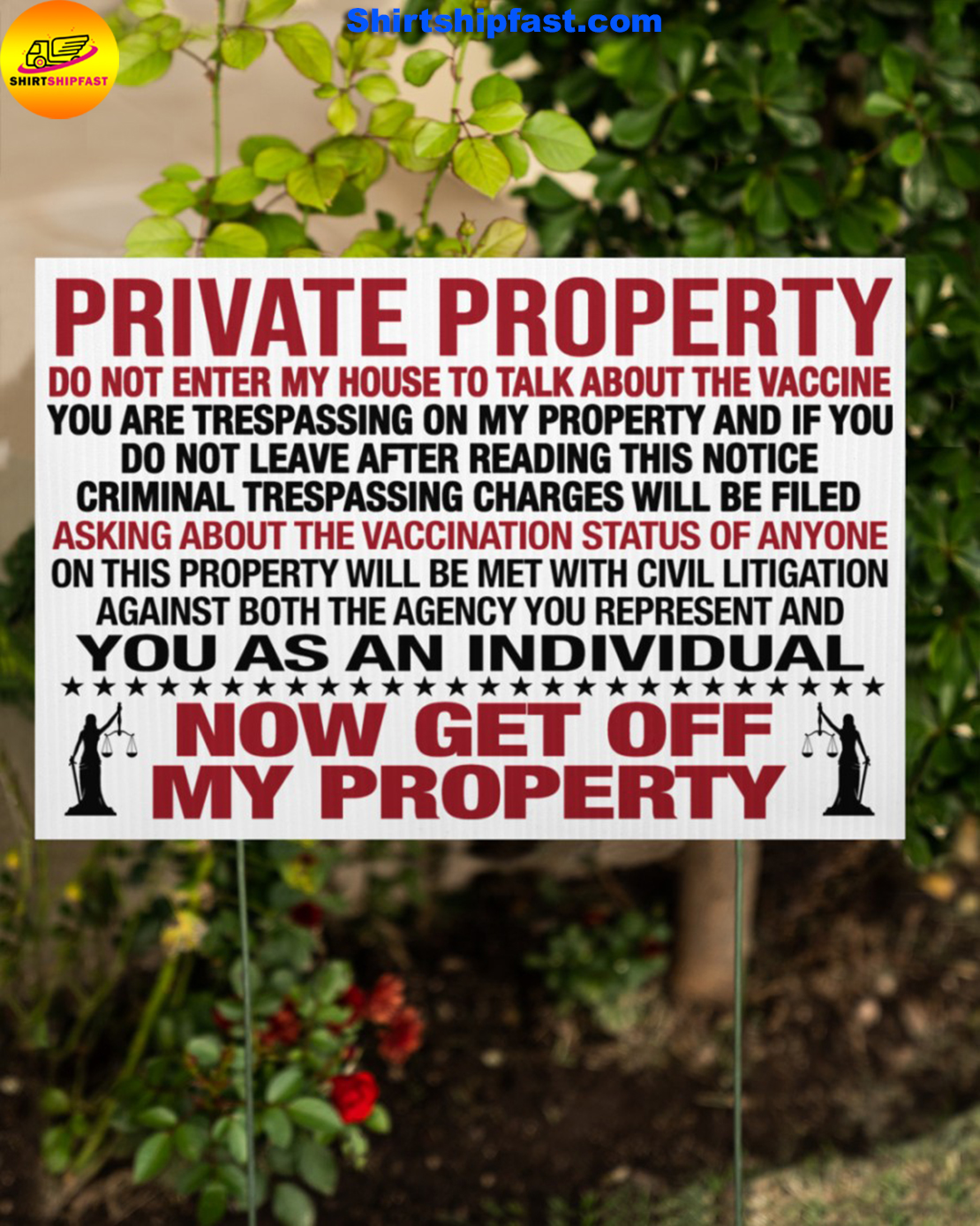 Private property do not enter my house to talk about the vaccine yard signs - Picture 2