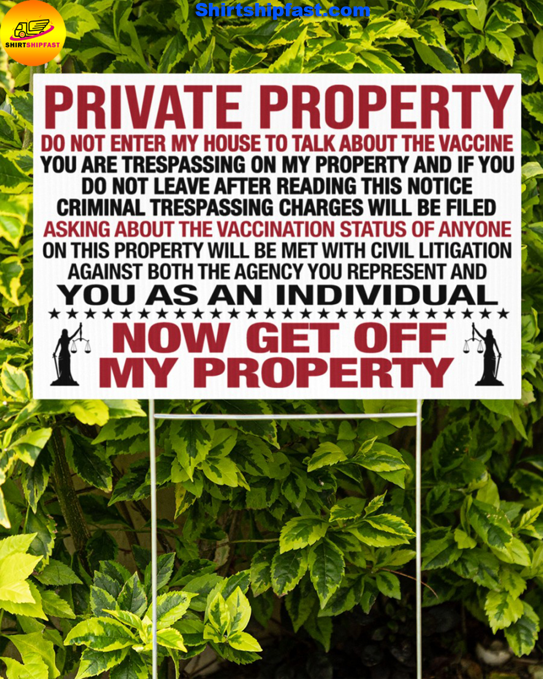 Private property do not enter my house to talk about the vaccine yard signs