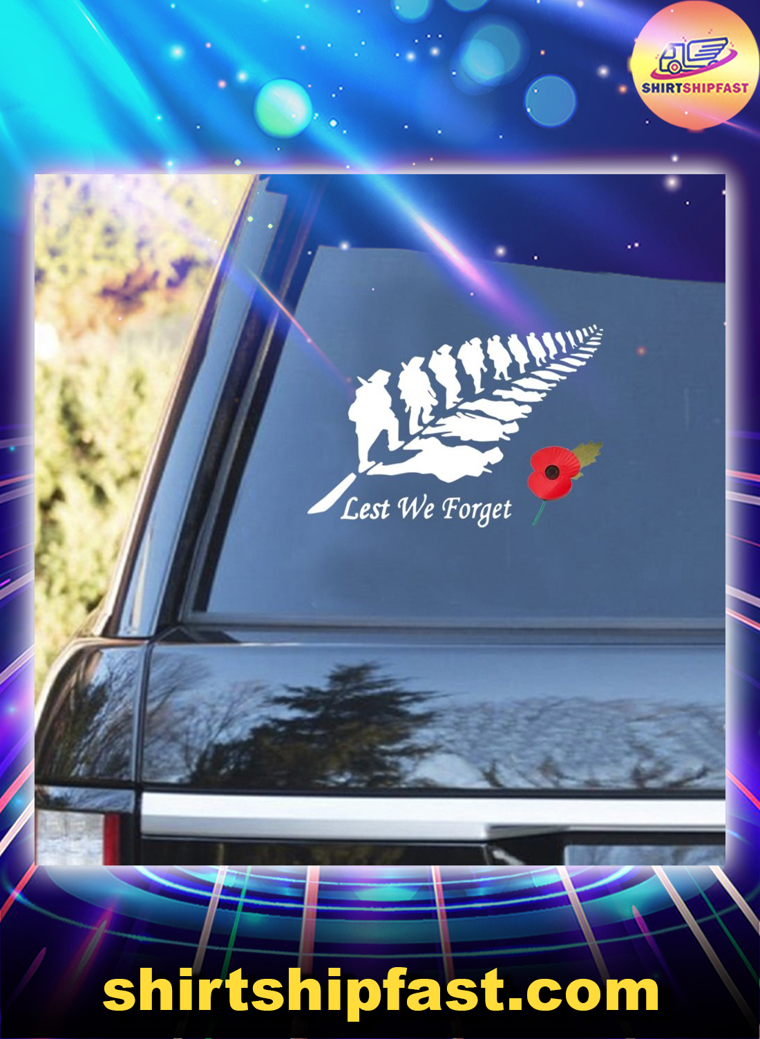 Remembrance Day Lest we forget car sticker