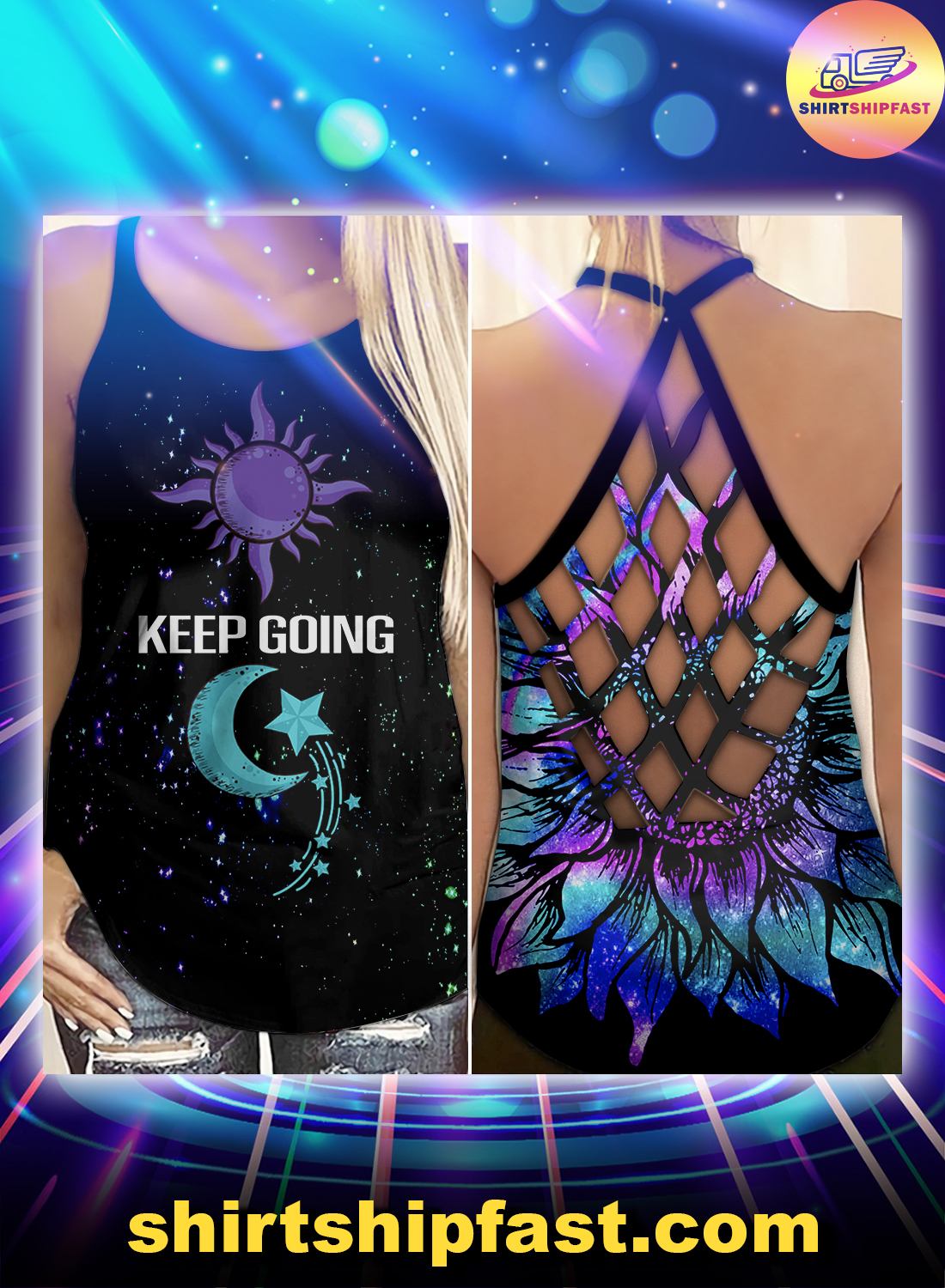 Semicolon suicide Keep going criss-cross open back camisole tank top