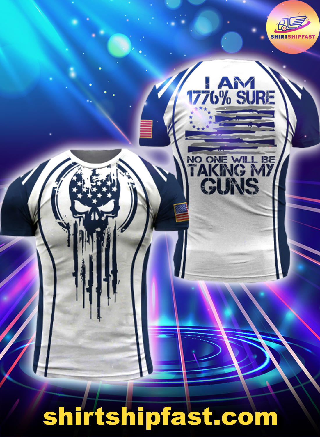 Skull US blue line I am 1776% sure no one will be taking my guns 3d t-shirt